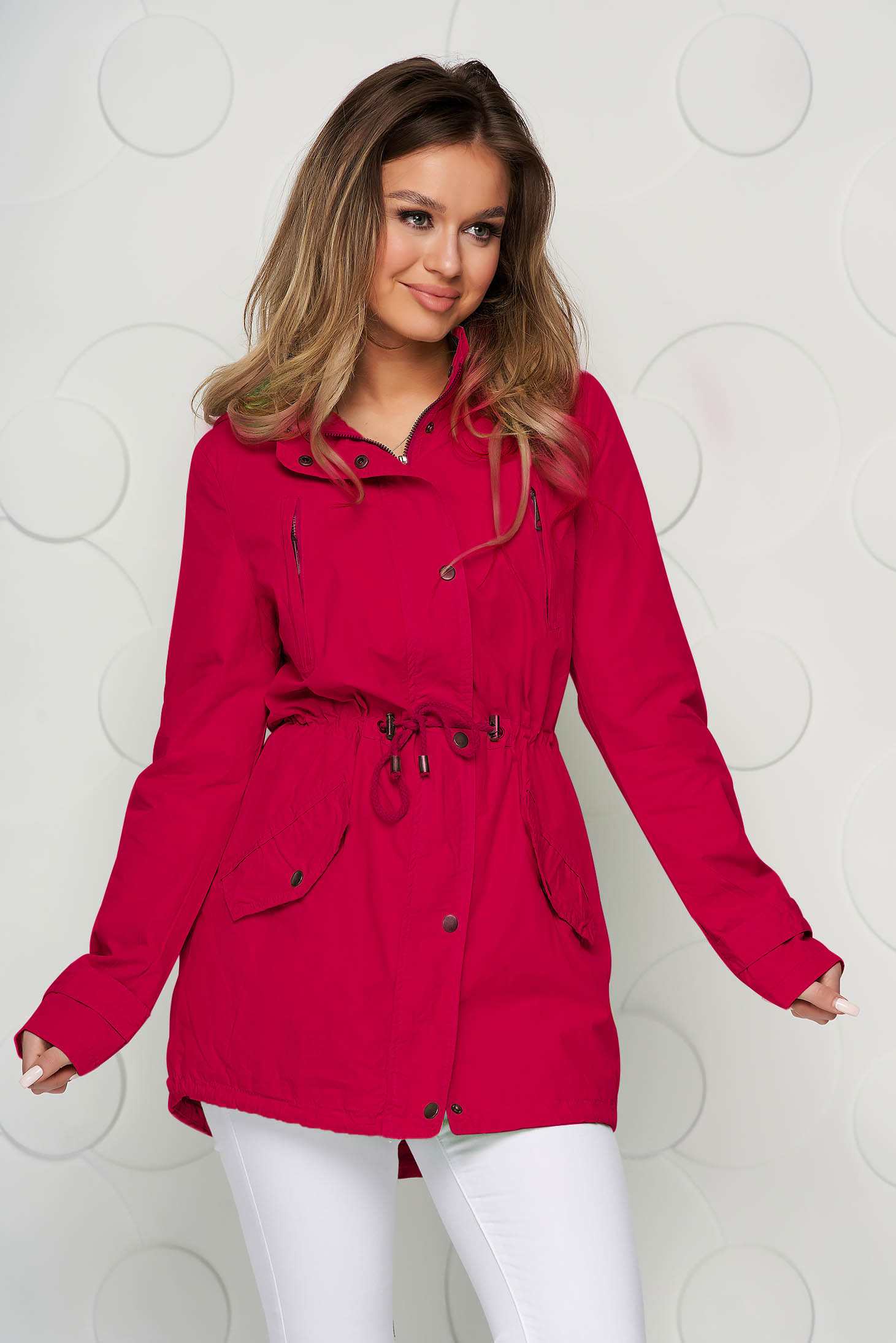 Pink jacket with laced details slicker fabric the jacket has hood and pockets