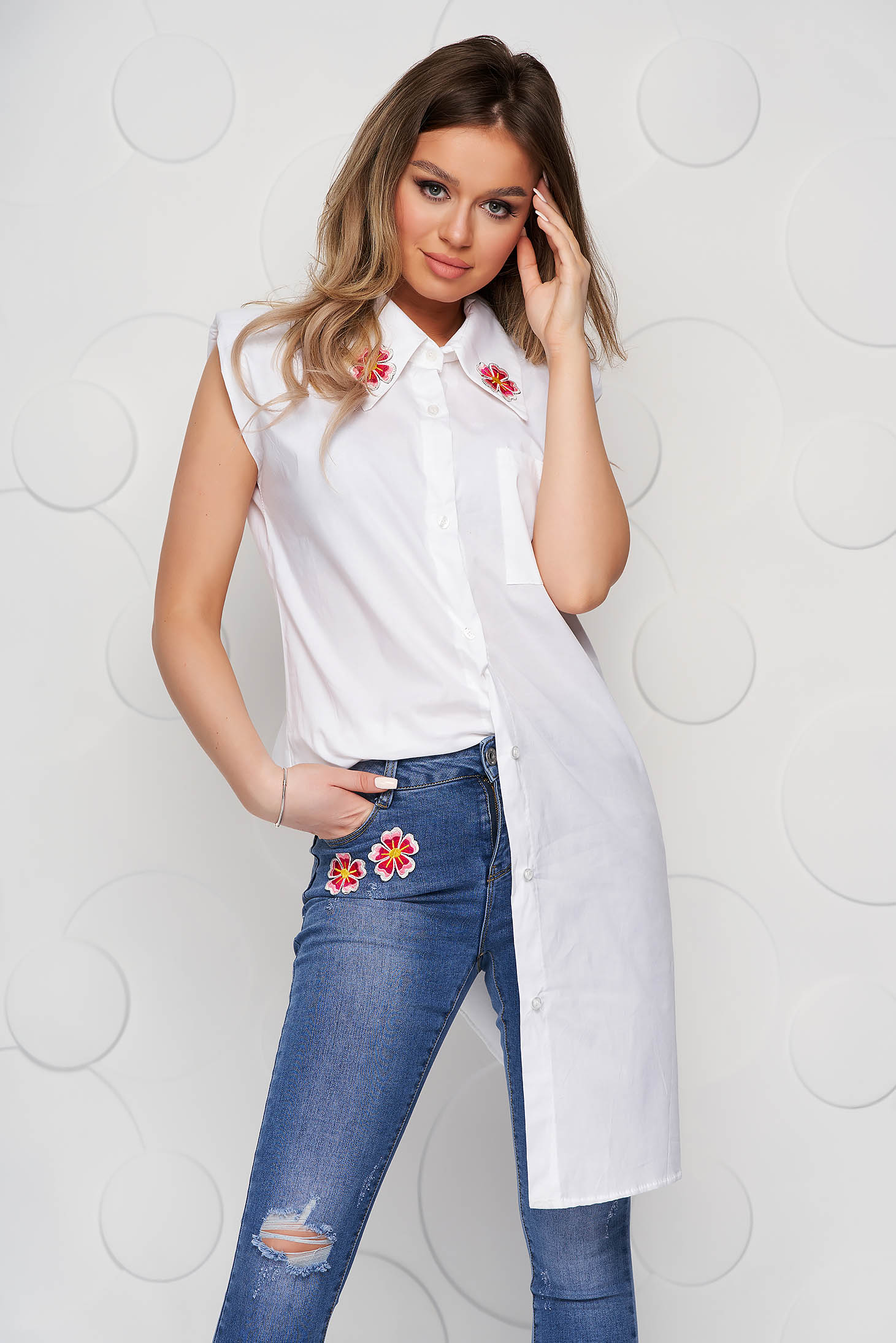 White women`s shirt poplin, thin cotton short sleeve loose fit embroidered