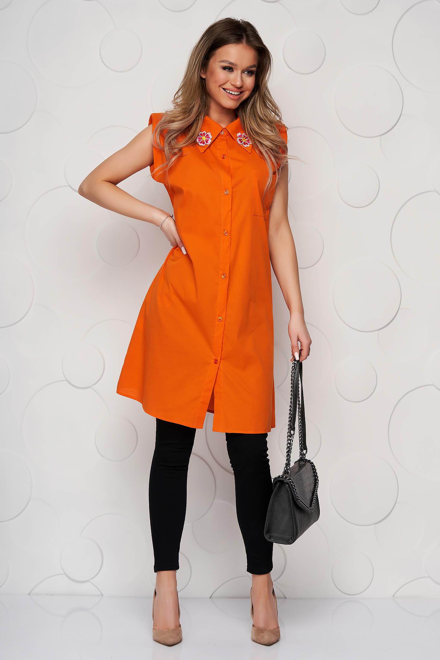 Orange women`s shirt poplin, thin cotton short sleeve loose fit embroidered
