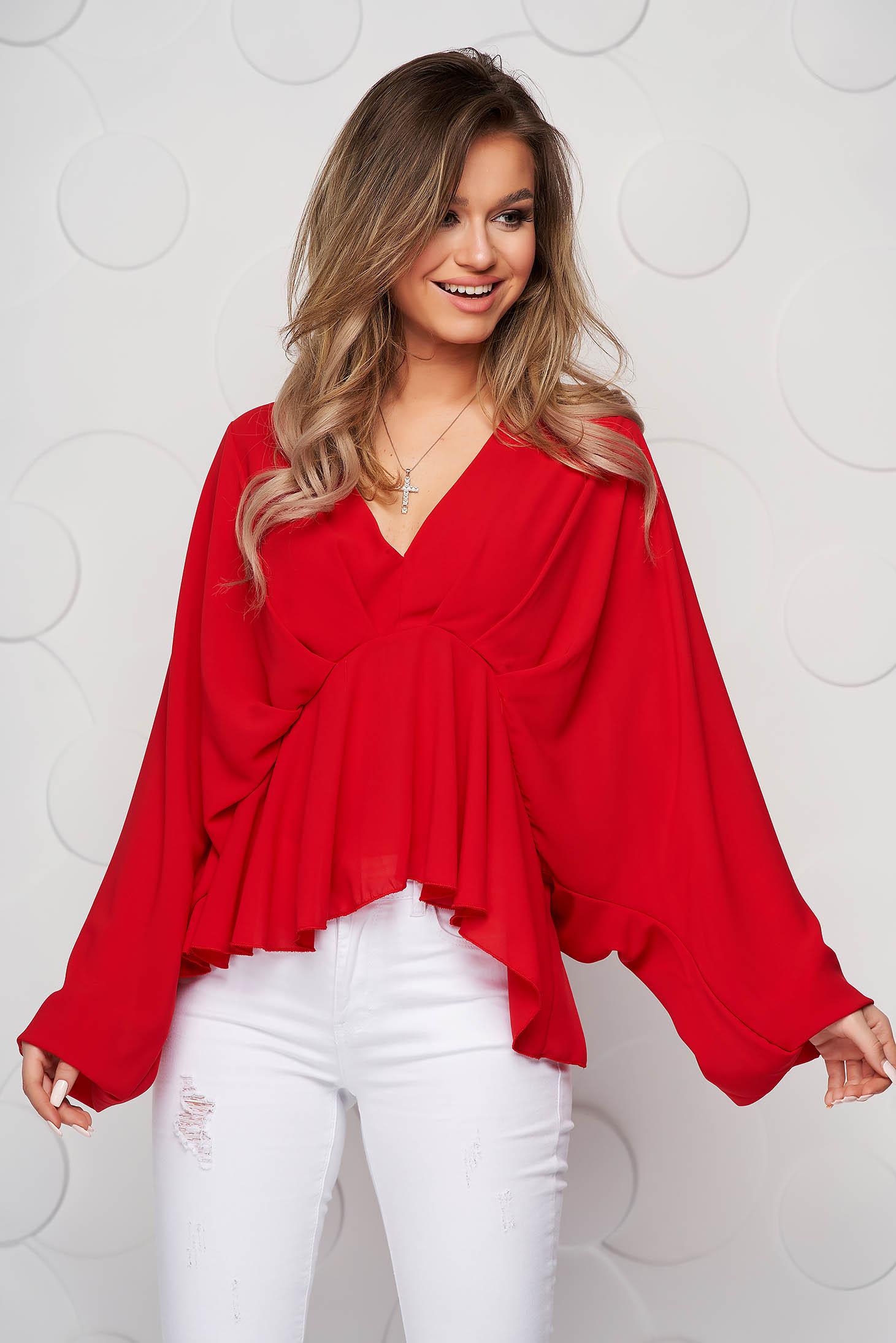 Bluza dama SunShine rosie din voal cu decolteu adanc cu elastic in talie