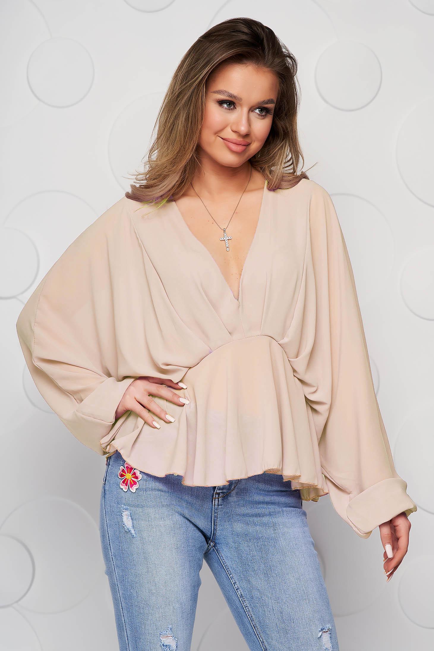 Bluza dama SunShine crem din voal cu decolteu adanc cu elastic in talie