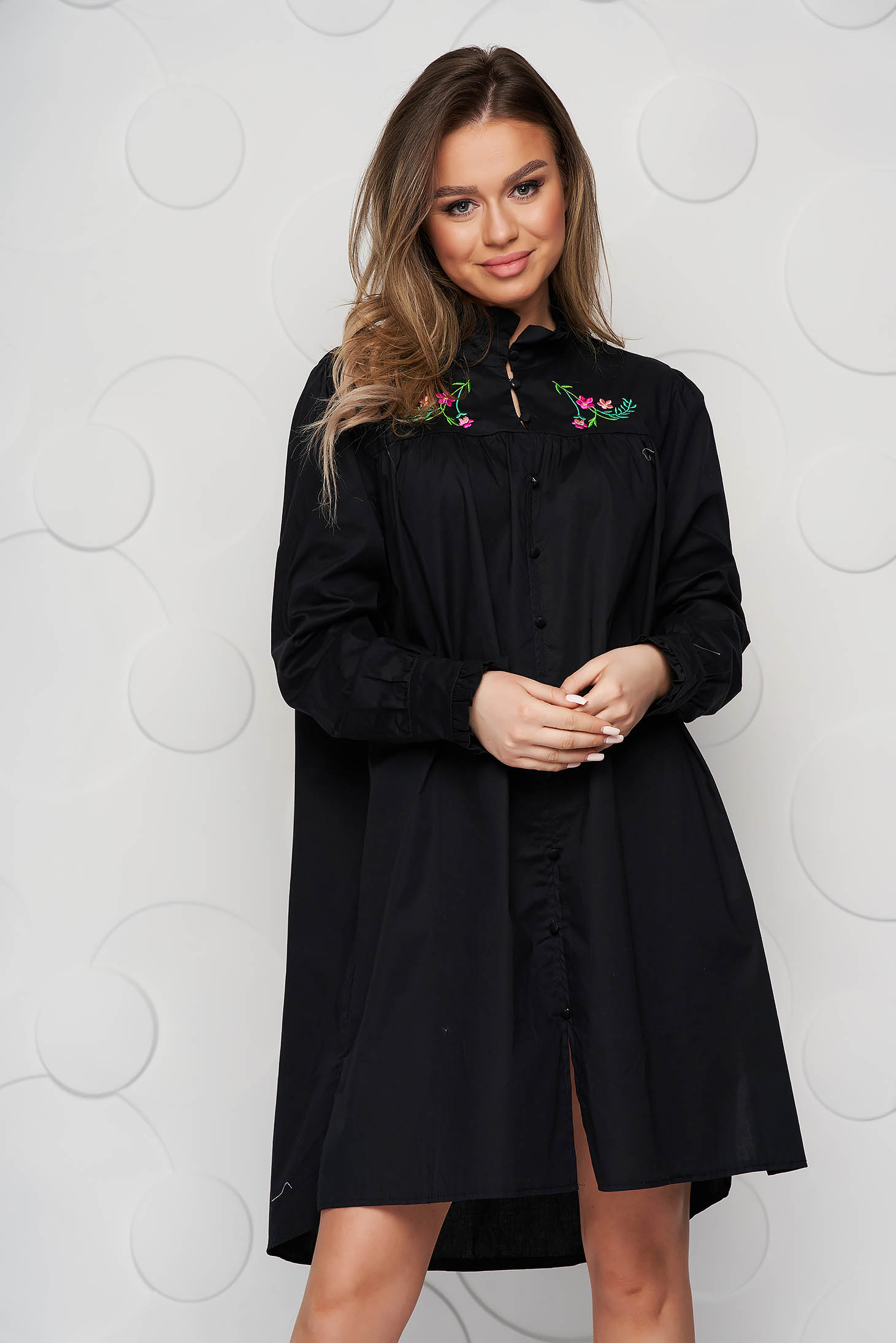 Black dress loose fit poplin, thin cotton ruffled collar embroidered