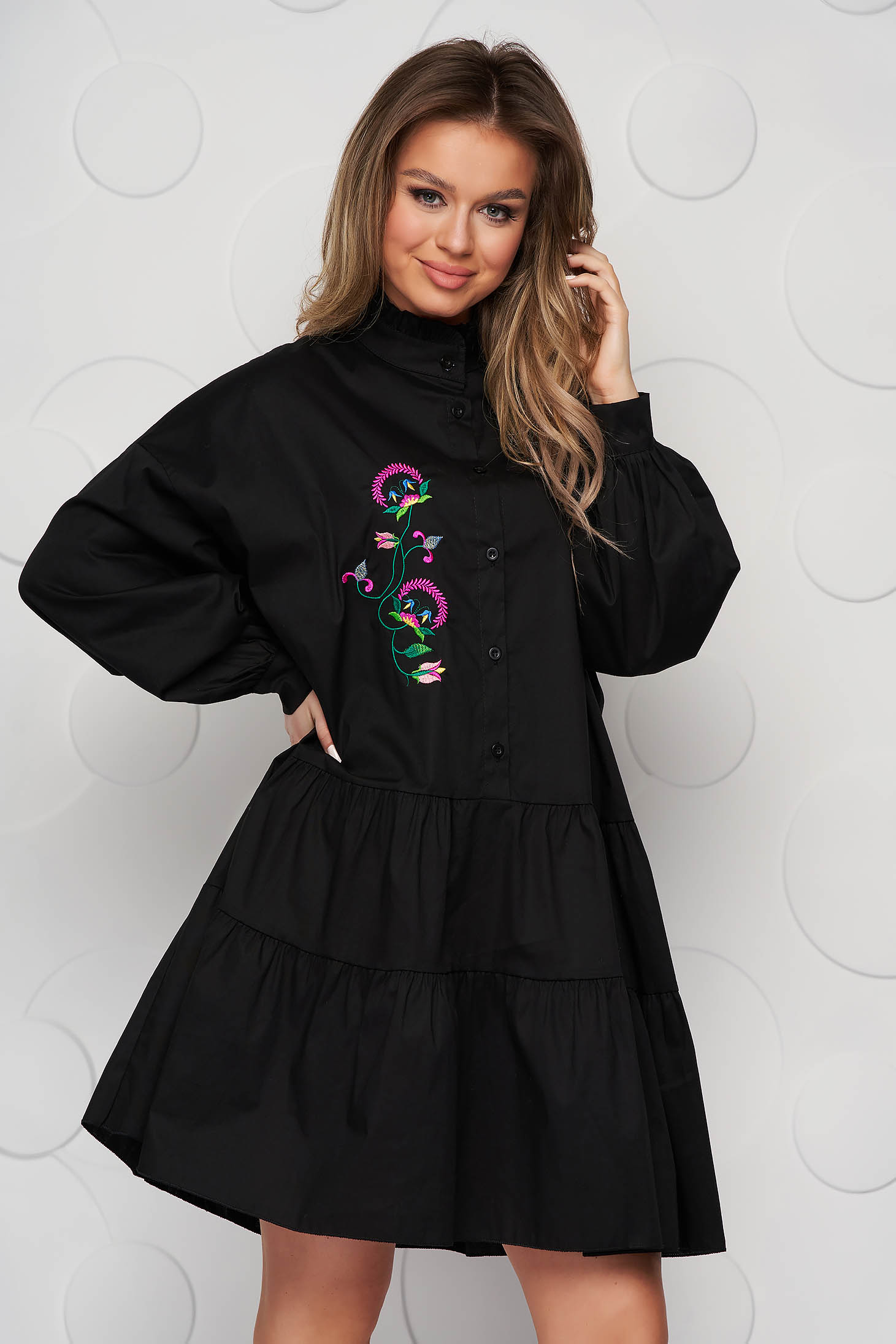 Black dress cotton loose fit with ruffle details embroidered