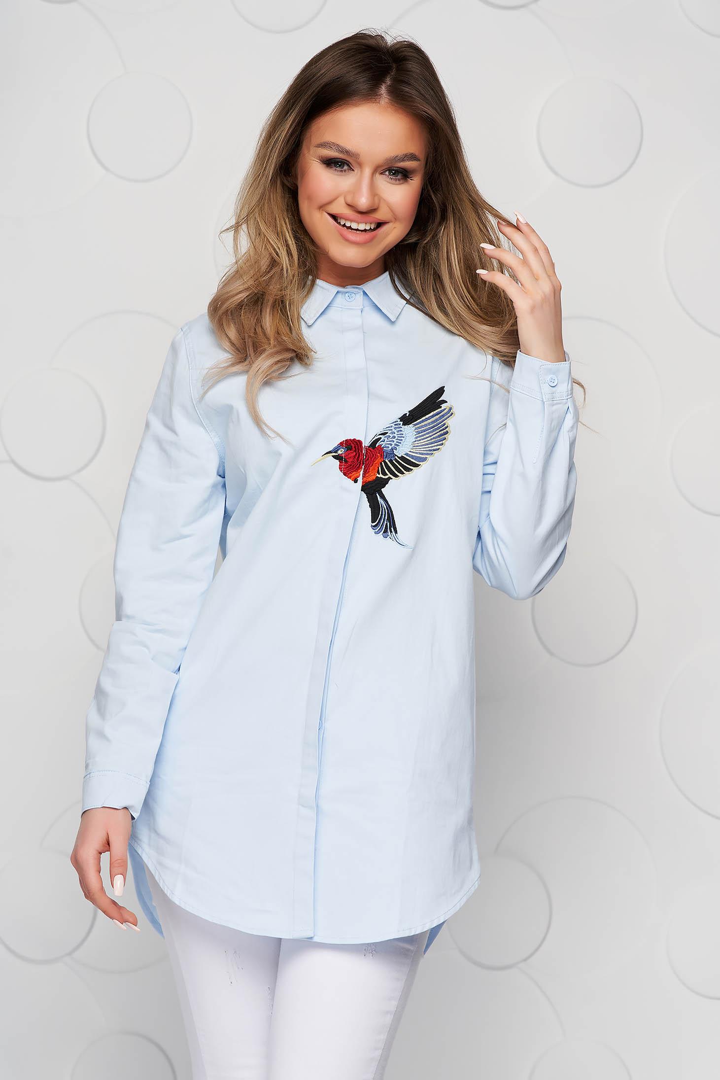 Camasa dama SunShine albastra din bumbac subtire cu insertii de broderie cu croi larg
