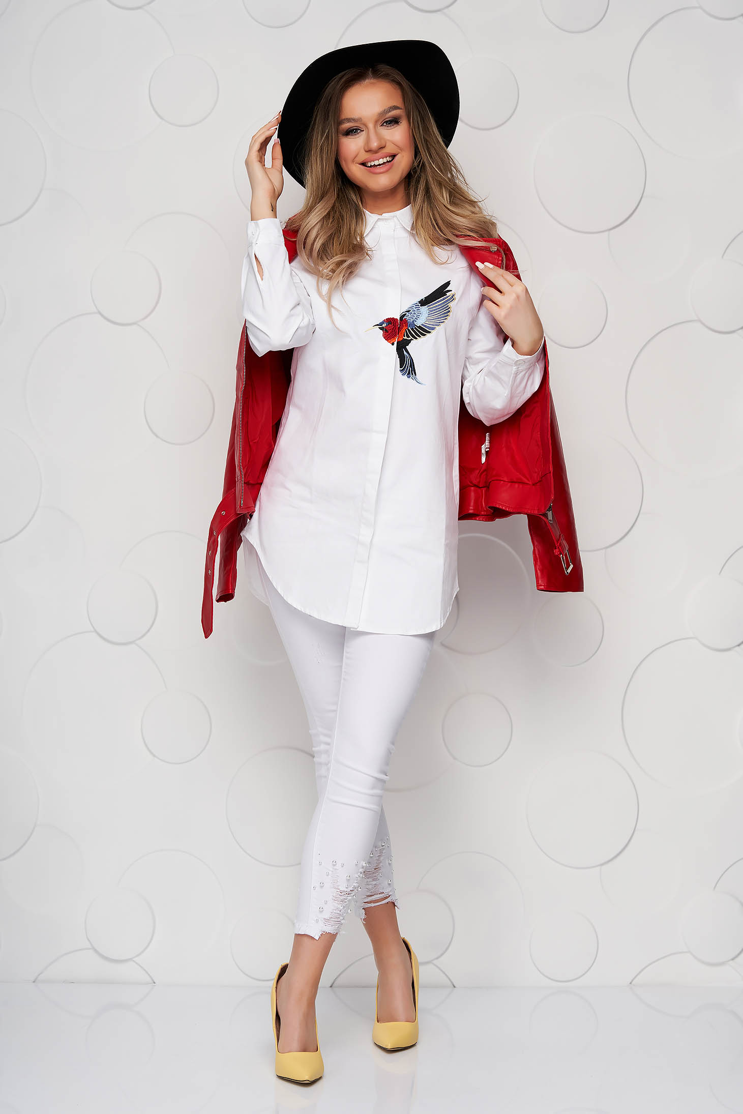 White women`s shirt poplin, thin cotton loose fit with embroidery details