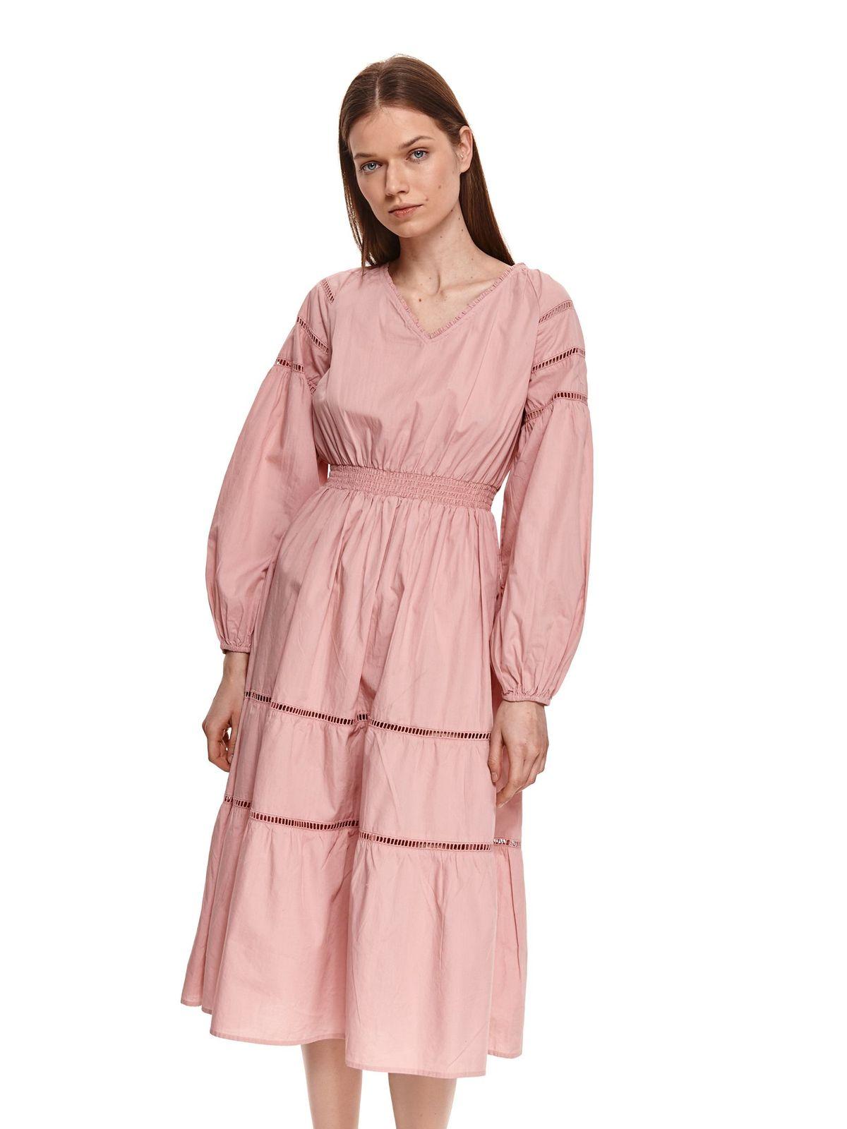 Rochie Top Secret roz prafuit midi in clos cu elastic in talie din bumbac subtire cu maneci bufante