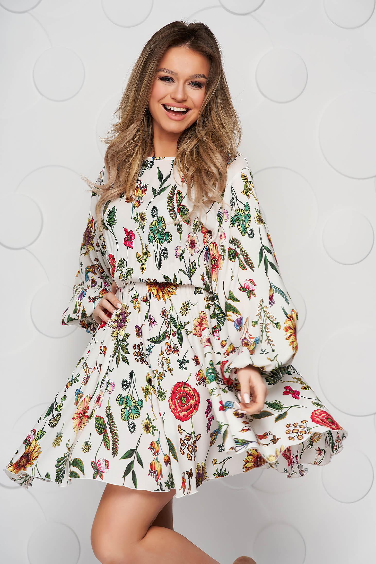 Rochie StarShinerS crem cu imprimeu floral asimetrica din material elastic cu maneci bufante