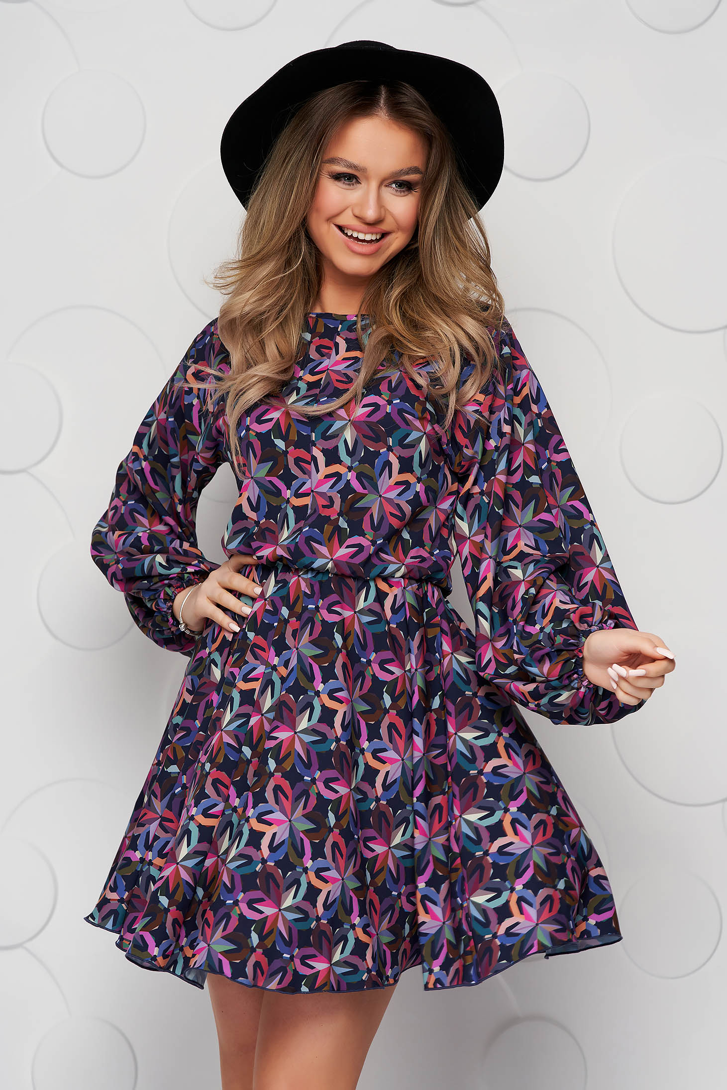 StarShinerS darkblue dress with floral print asymmetrical from elastic fabric with puffed sleeves