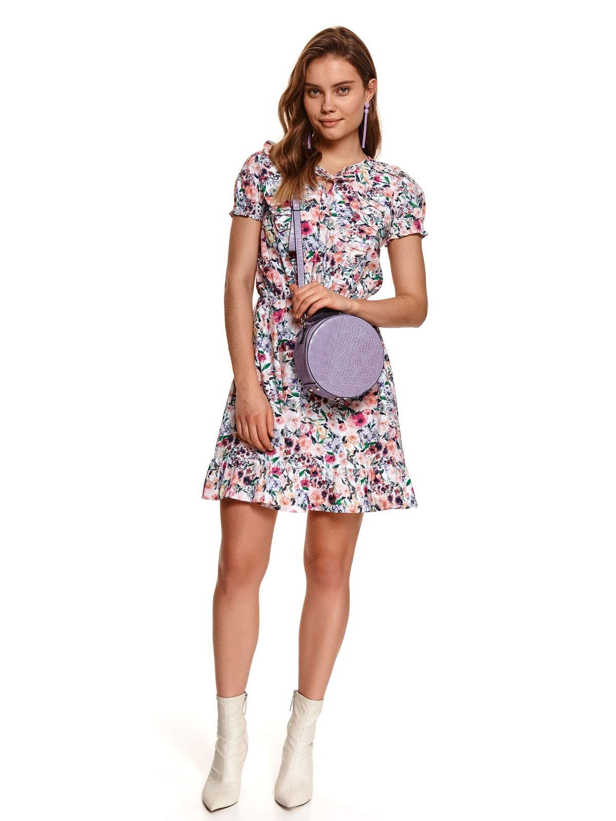 Pink dress with floral print cotton elastic held sleeves ribbon fastening