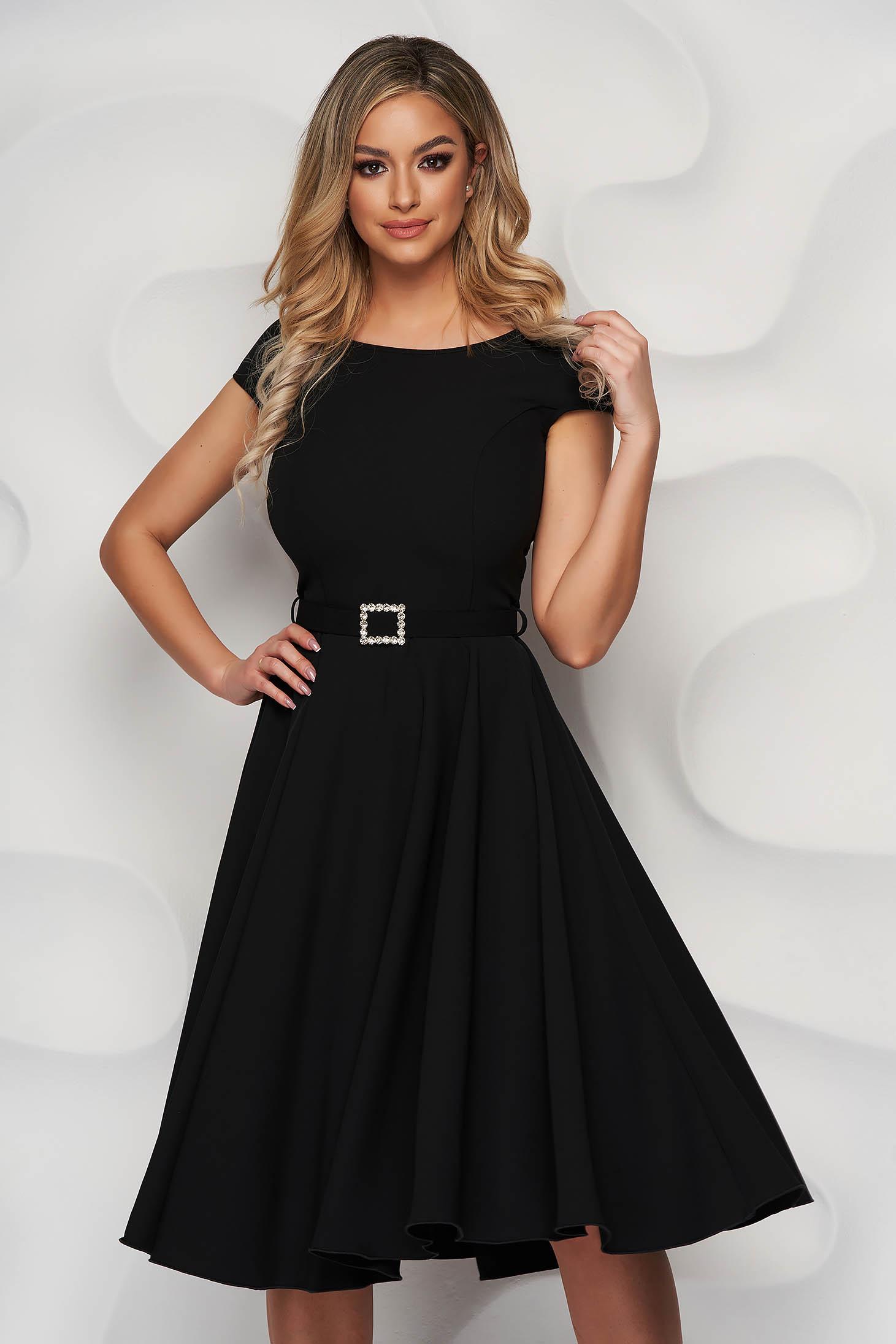 StarShinerS black dress elegant midi cloth accessorized with a waistband