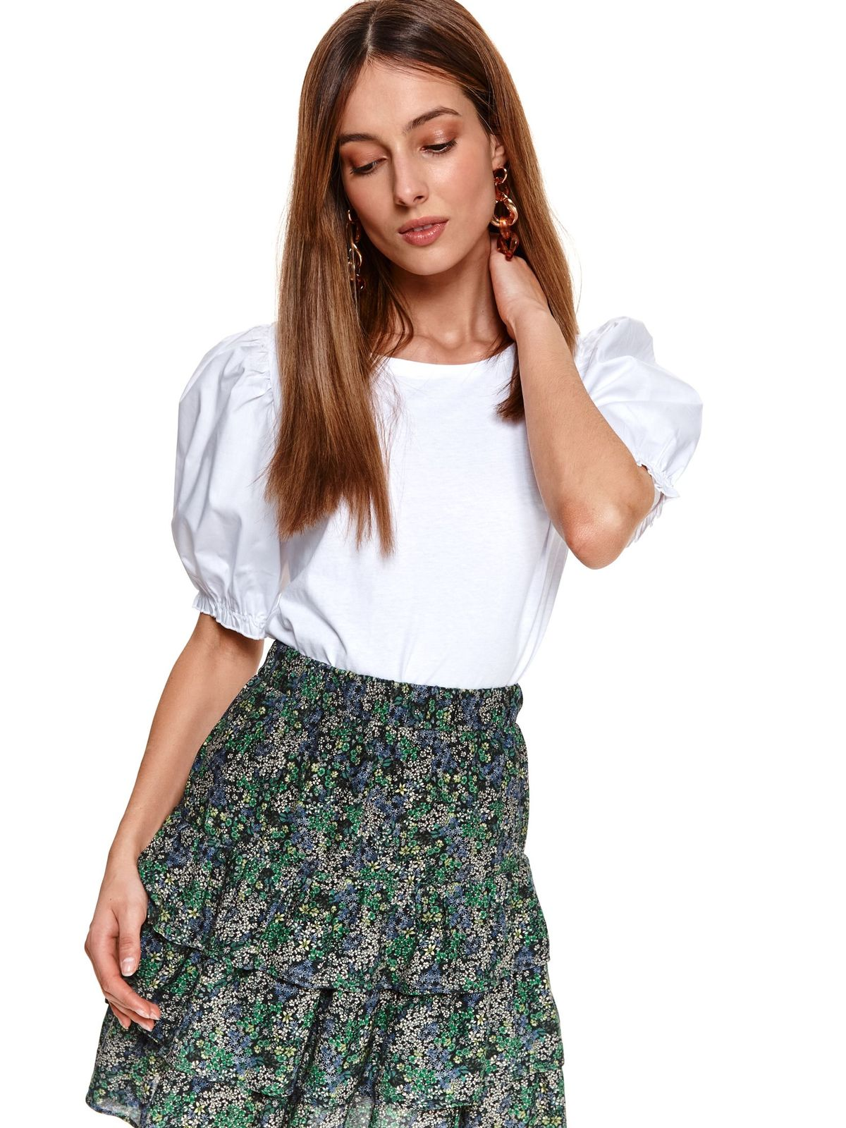 With puffed sleeves cotton loose fit white women`s blouse