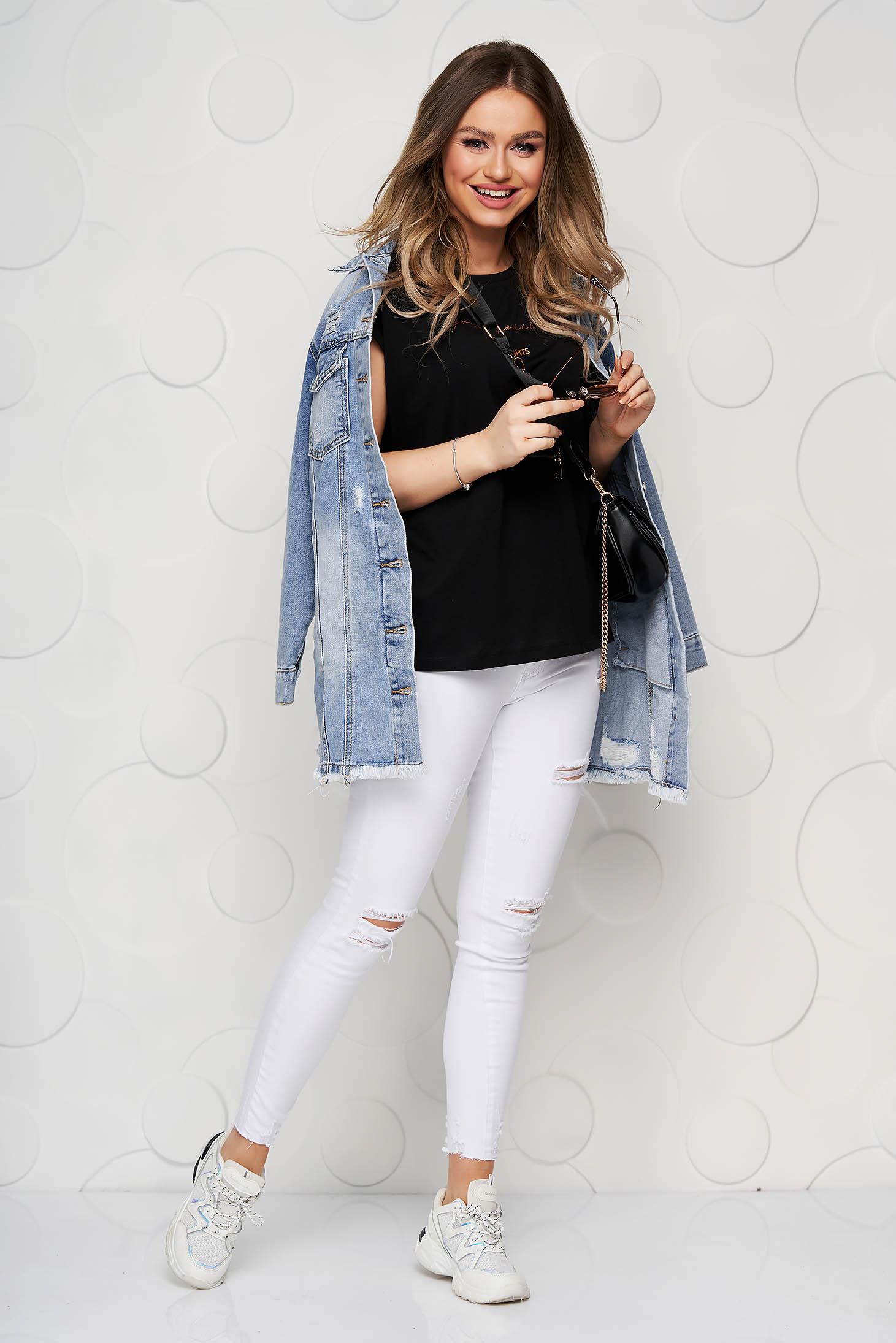 Bluza dama Top Secret neagra din bumbac cu imprimeuri grafice cu croi larg cu decolteu rotunjit