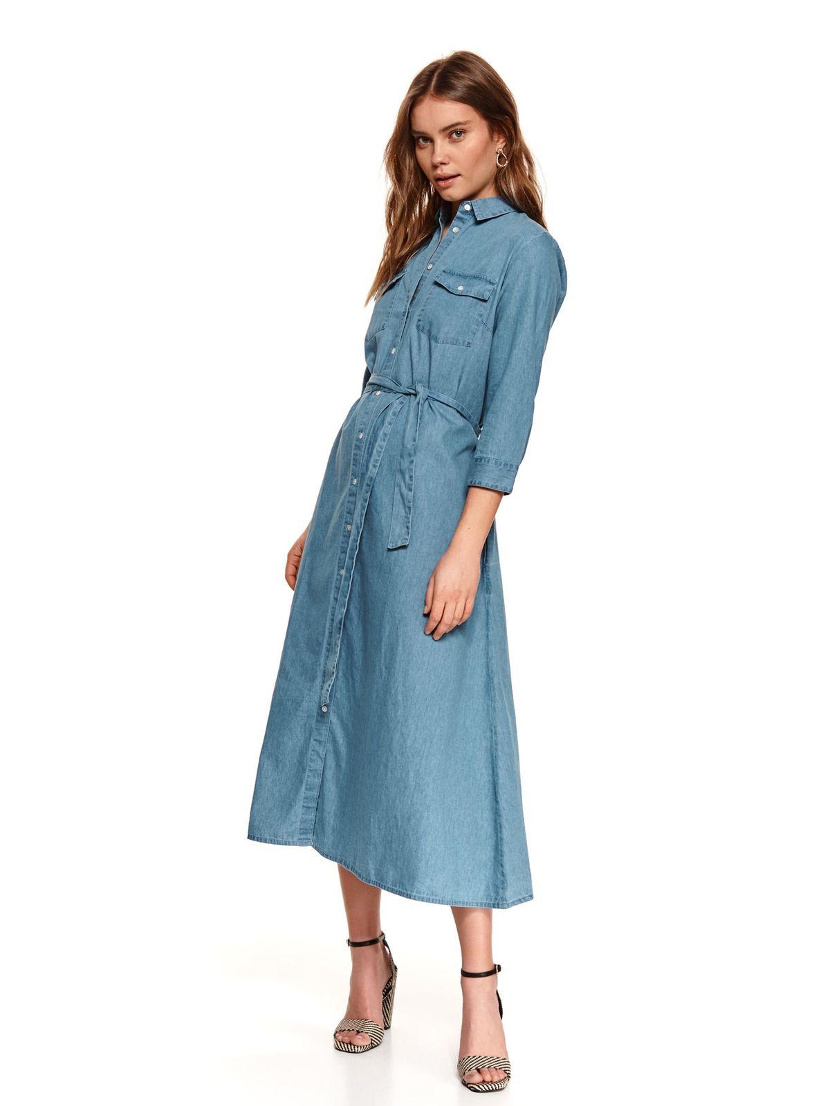 Kék midi galléros ruha harang tipusú