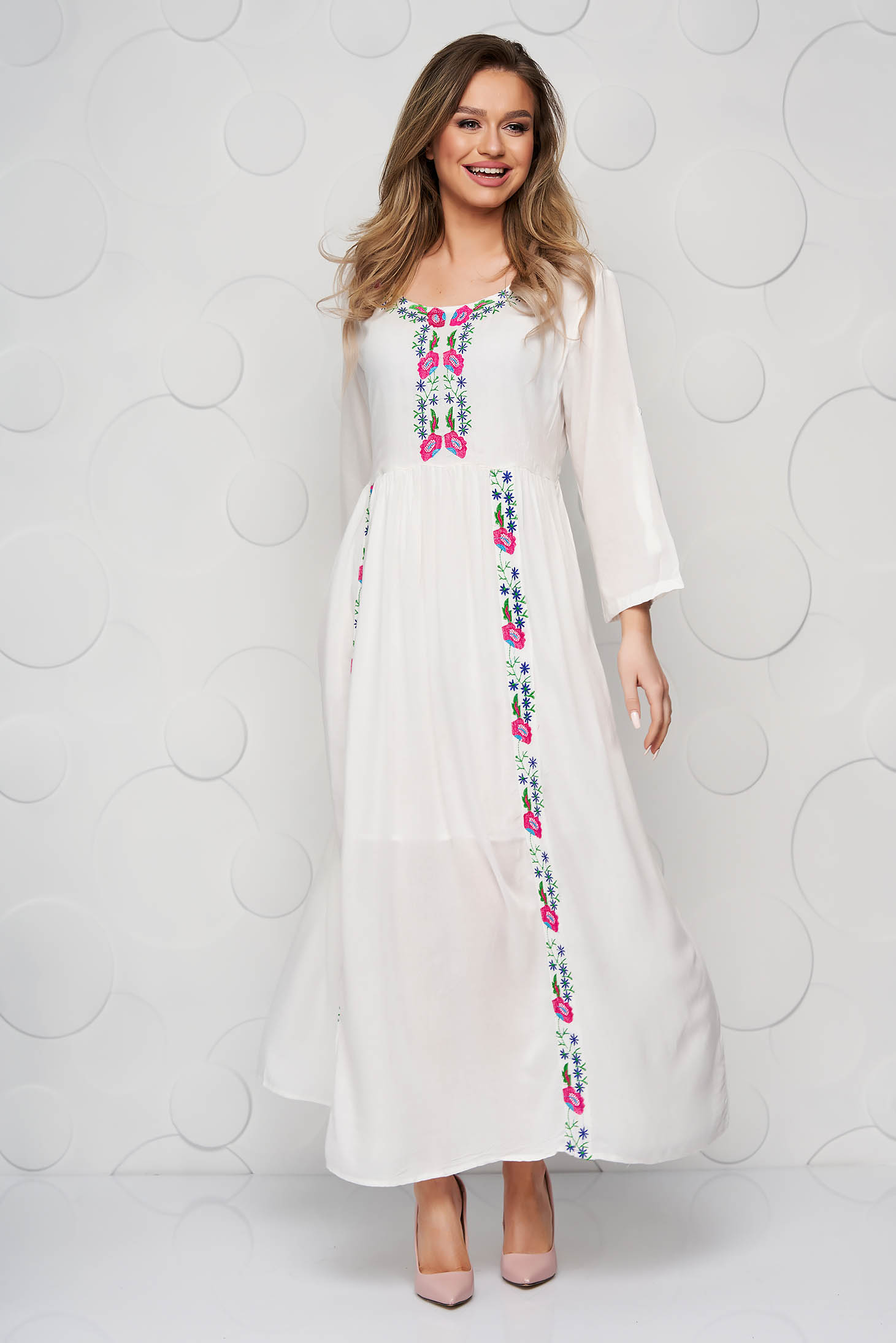 Ivory dress embroidered slightly transparent fabric loose fit