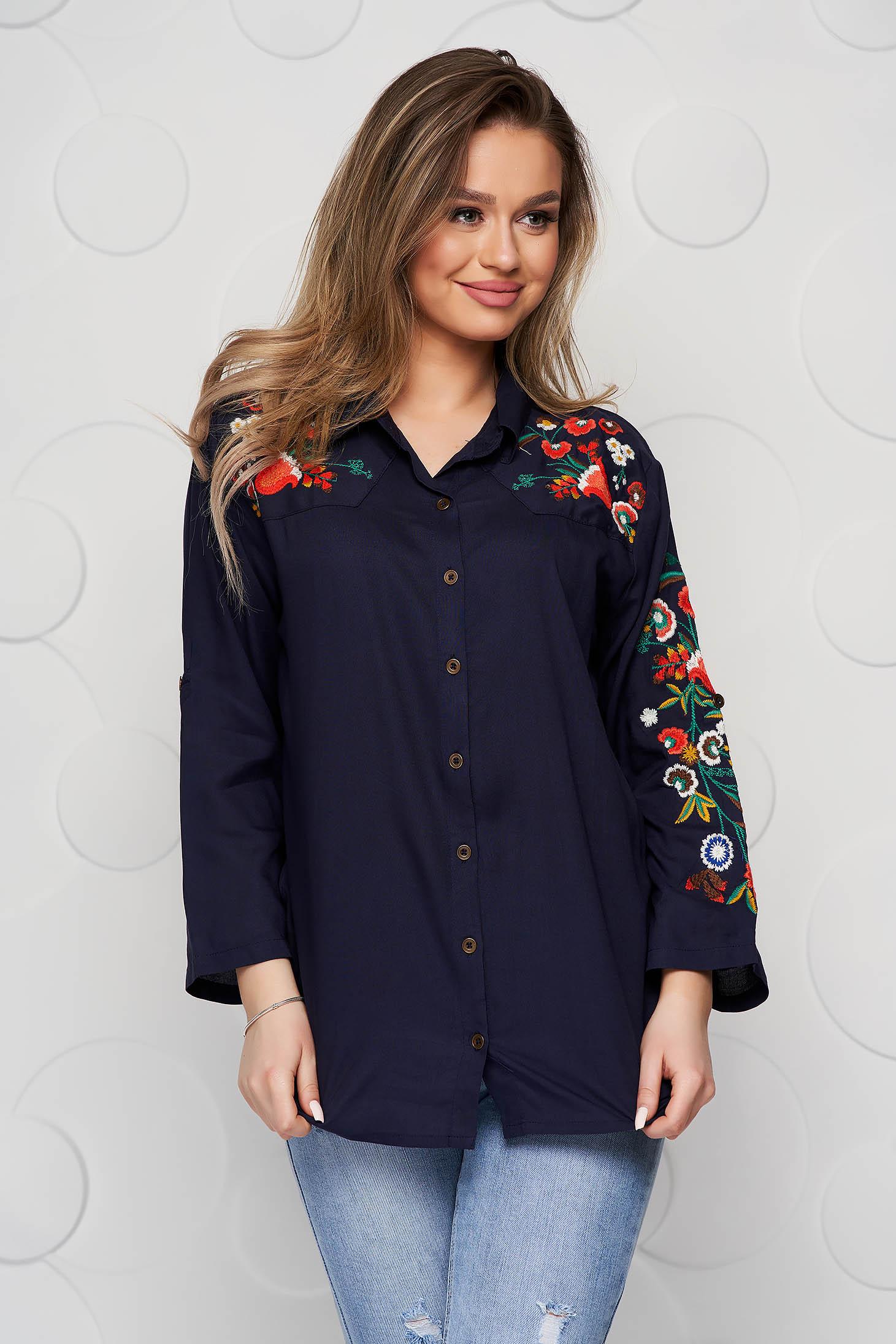 Kék bő szabású virágos hímzés női ing enyhén elasztikus pamut