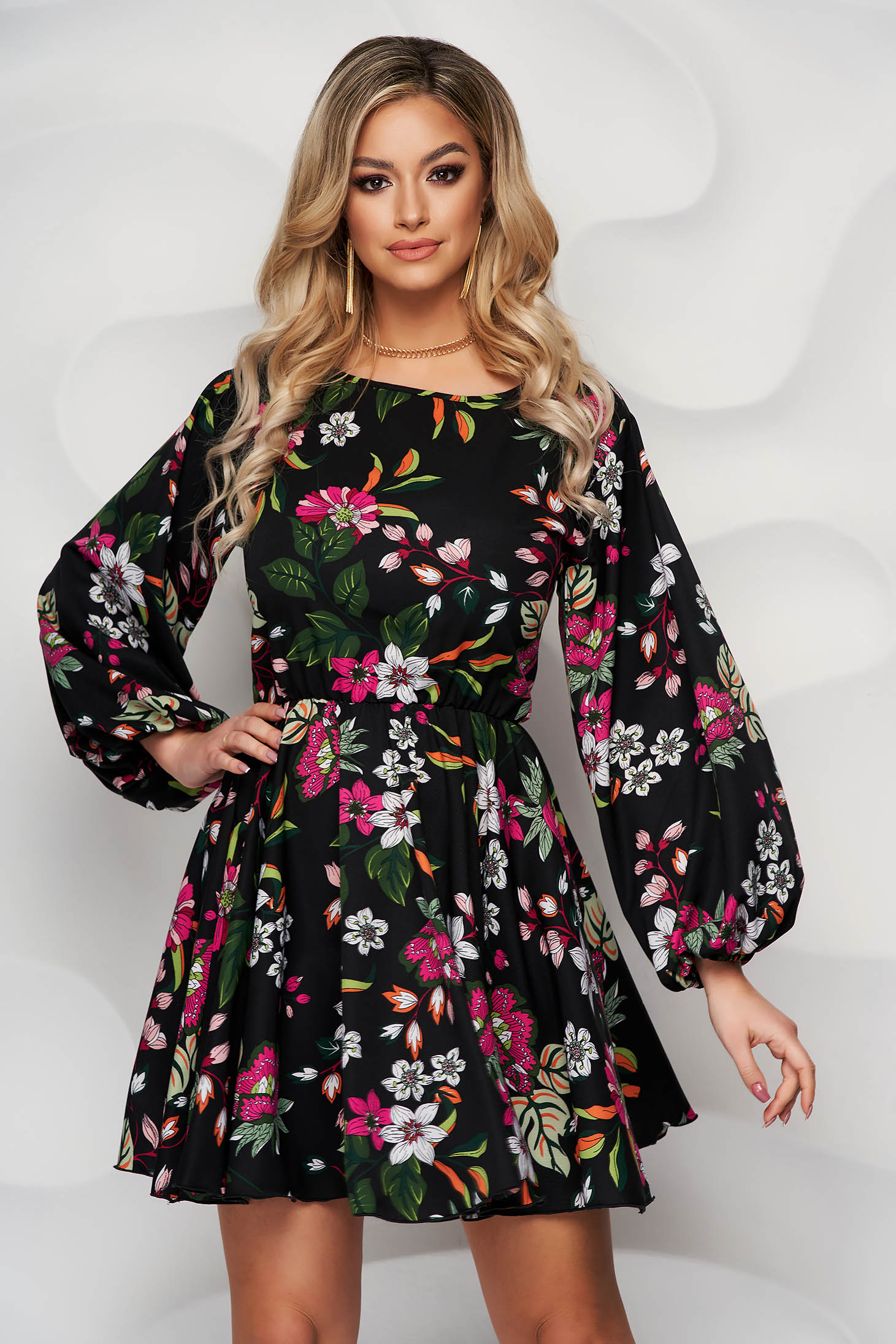 StarShinerS dress with floral print nonelastic fabric cloche with elastic waist with puffed sleeves