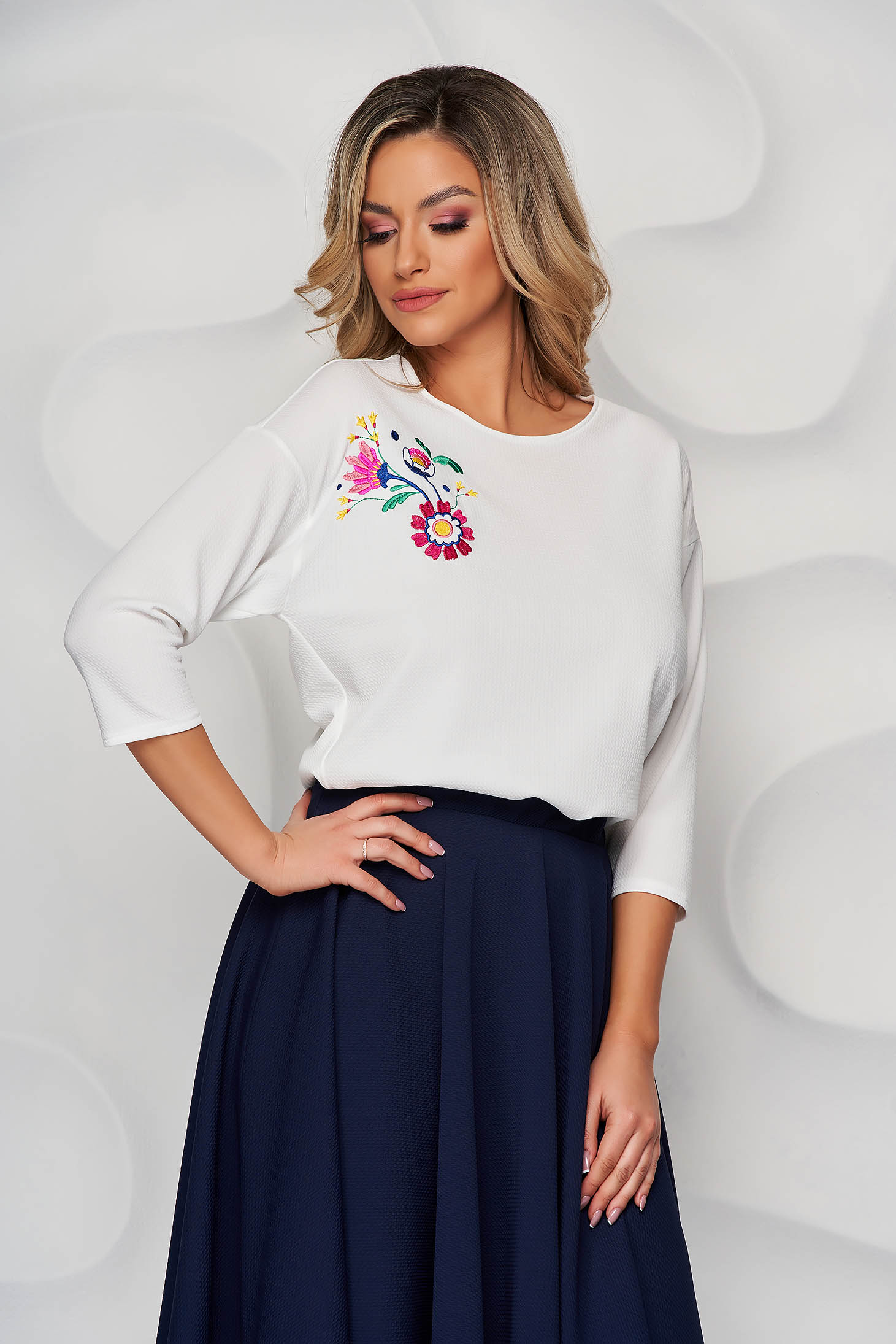 StarShinerS ivory women`s blouse embroidered loose fit with rounded cleavage from elastic fabric