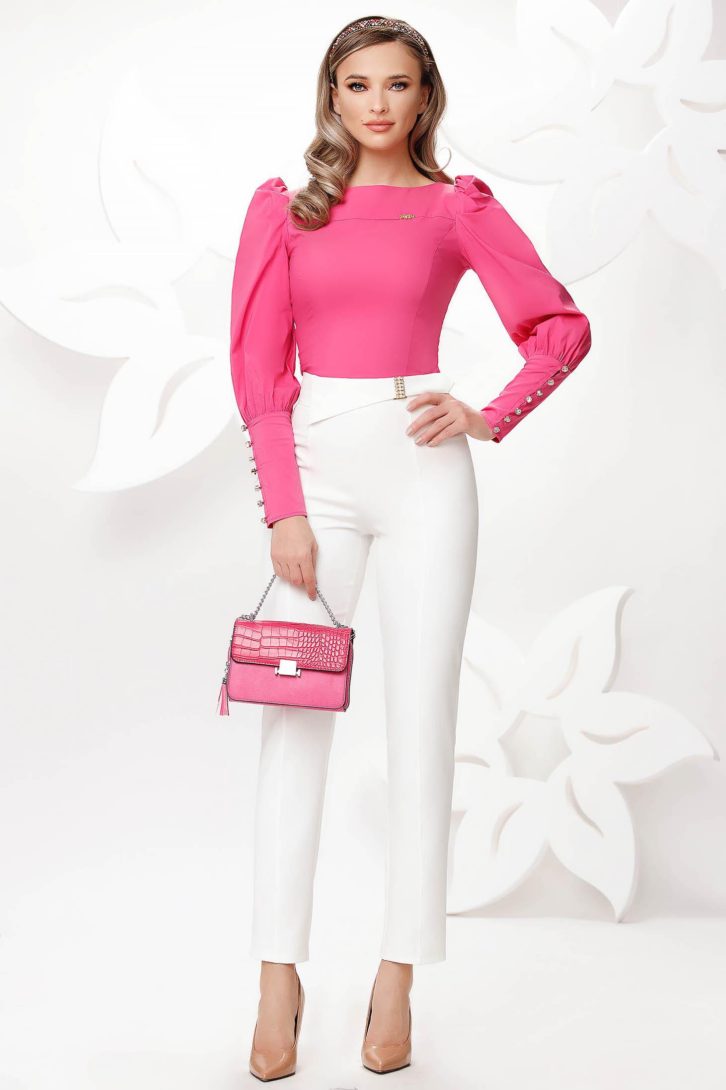 Pantaloni Fofy albi eleganti din material usor elastic si usor transparent cu un croi drept