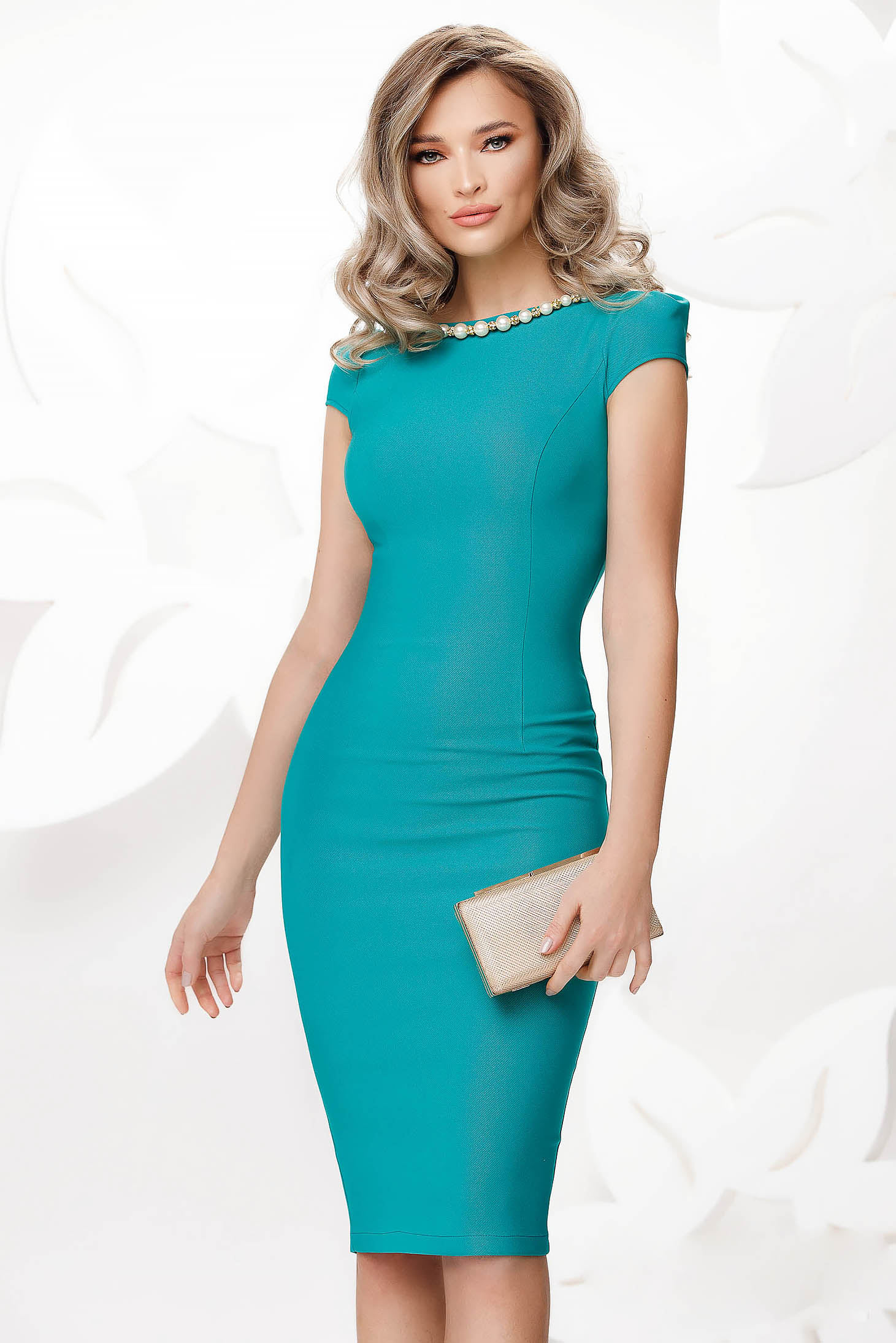 Turquoise occasional midi pencil dress slightly elastic fabric with pearls
