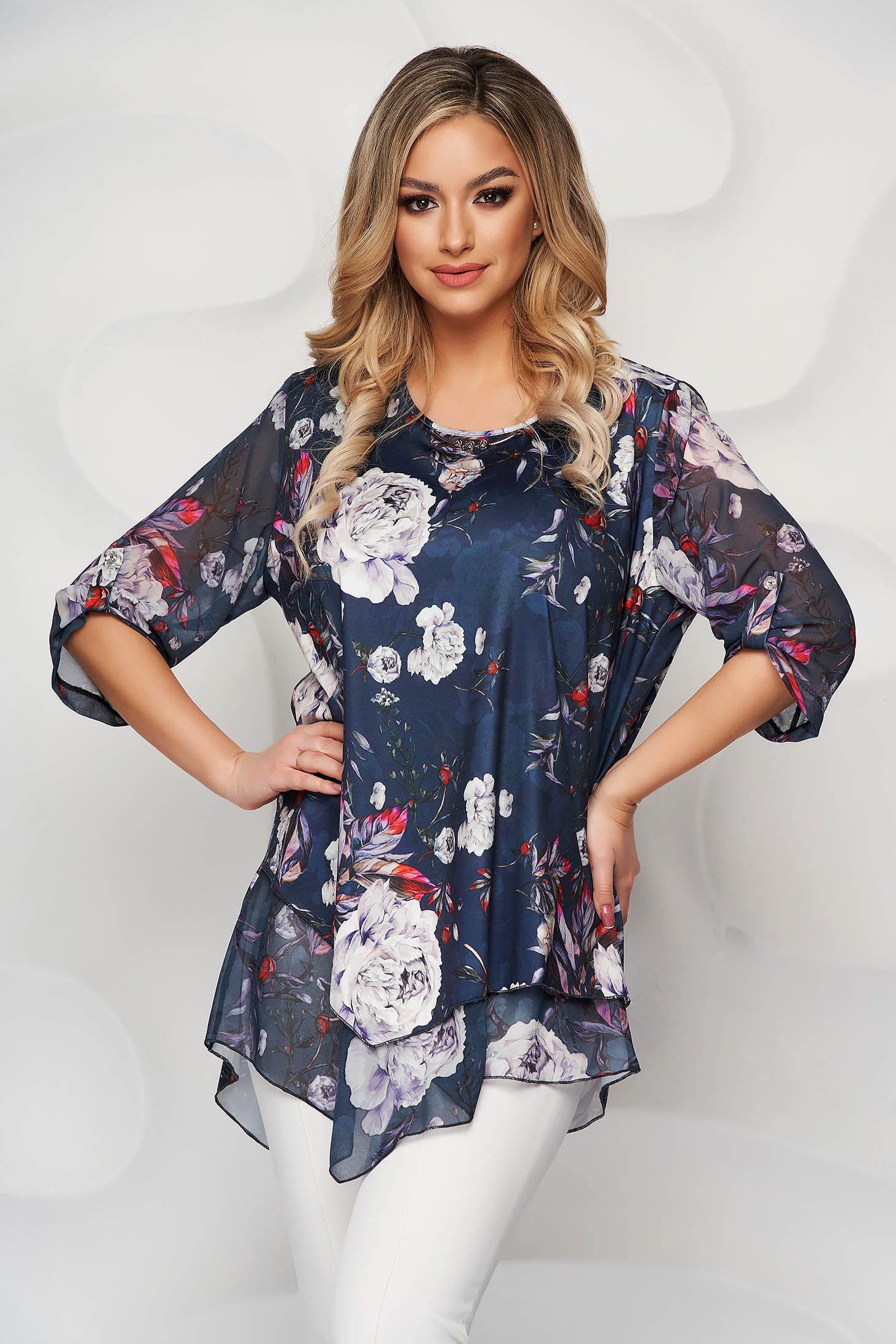 Blue women`s blouse with floral print airy fabric asymmetrical