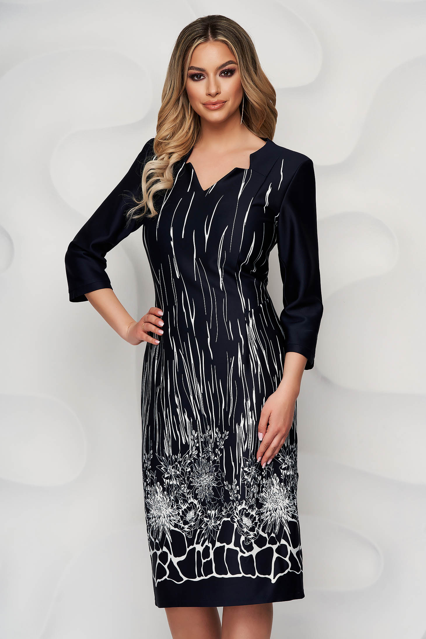Darkblue dress midi straight office with stripes with floral print