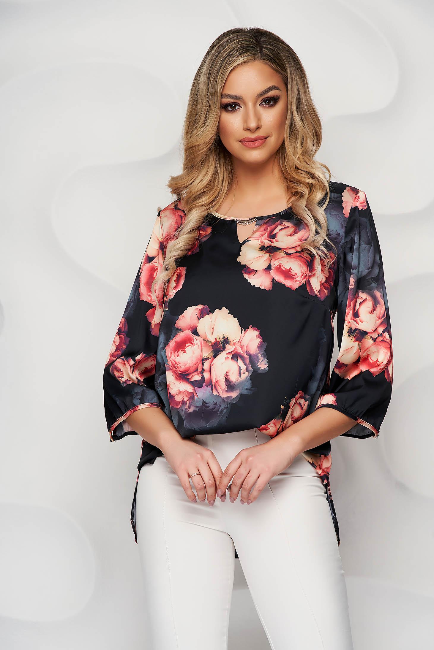 Bluza dama Lady Pandora cu croi larg din material vaporos cu imprimeu floral