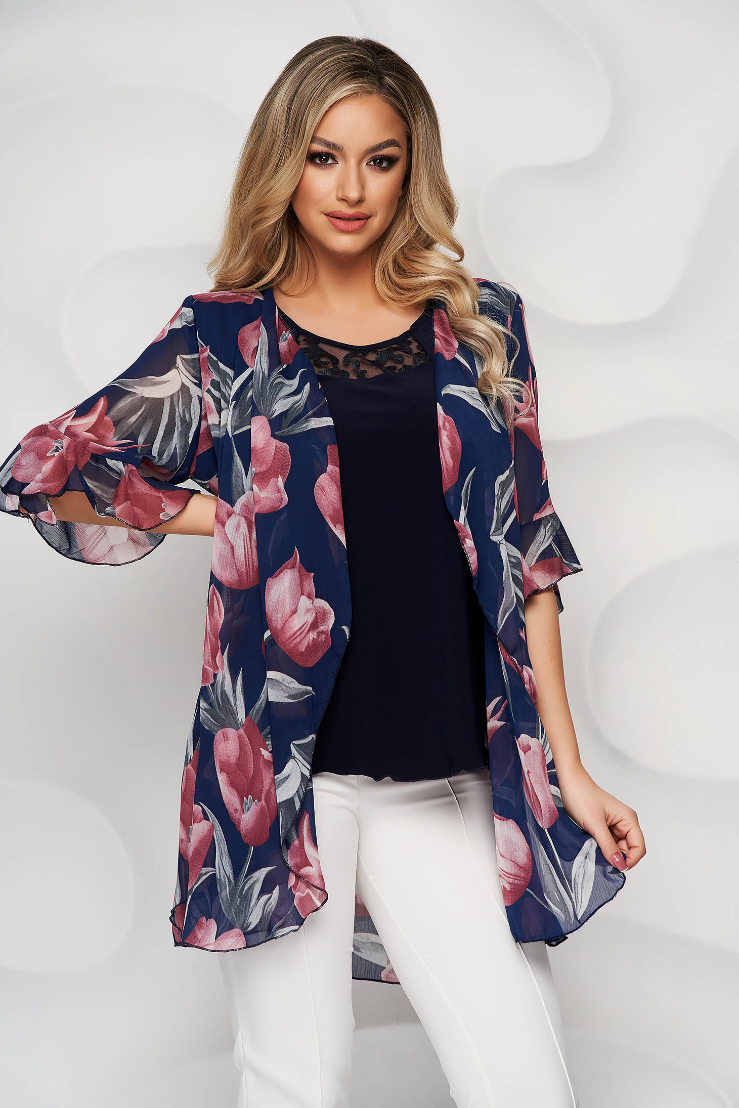 Darkblue women`s blouse with floral print with lace details