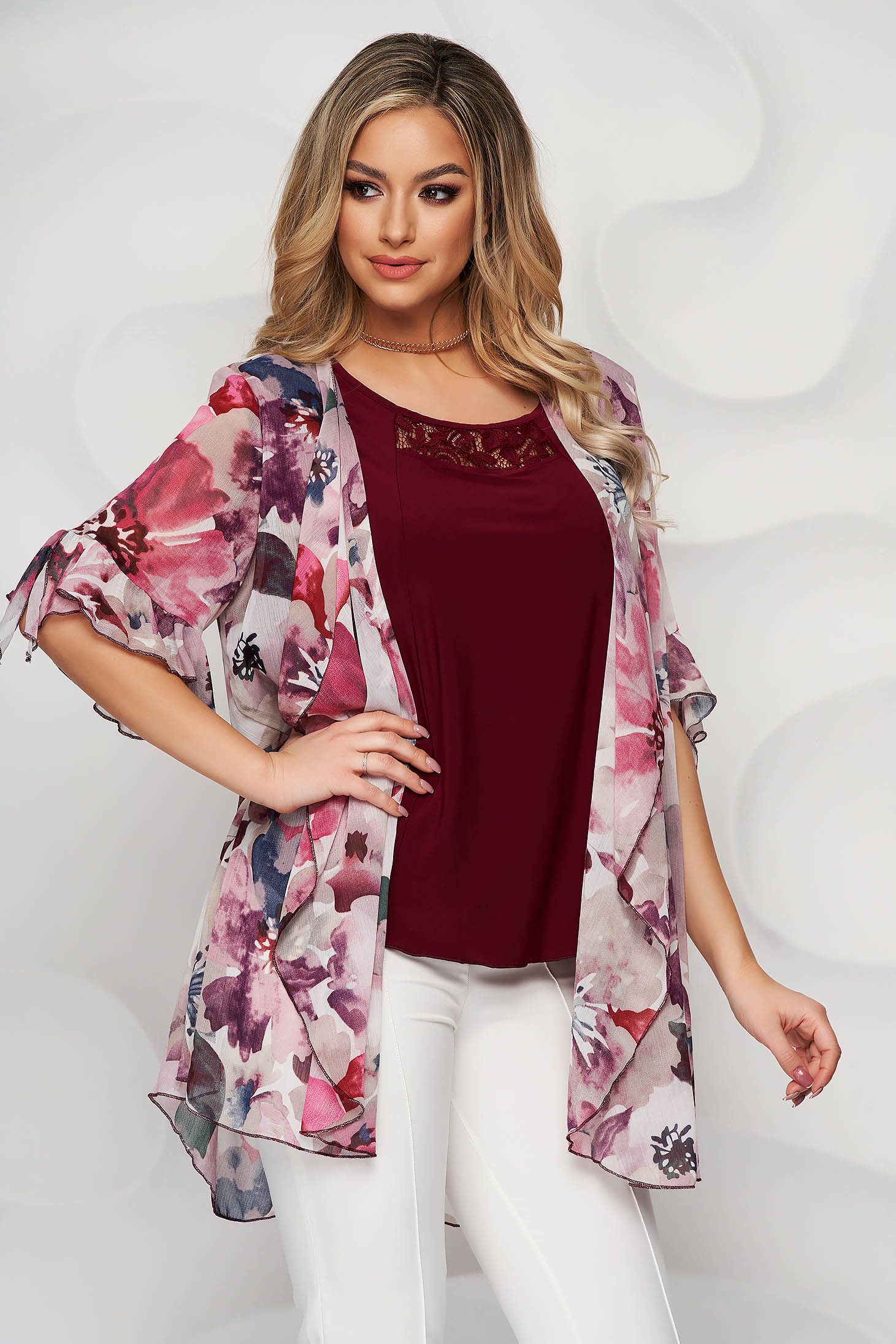 Burgundy women`s blouse with floral print with lace details