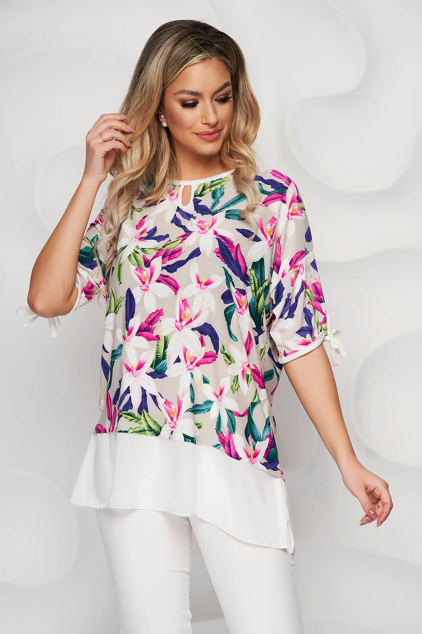 Cream women`s blouse voile details from elastic and fine fabric loose fit
