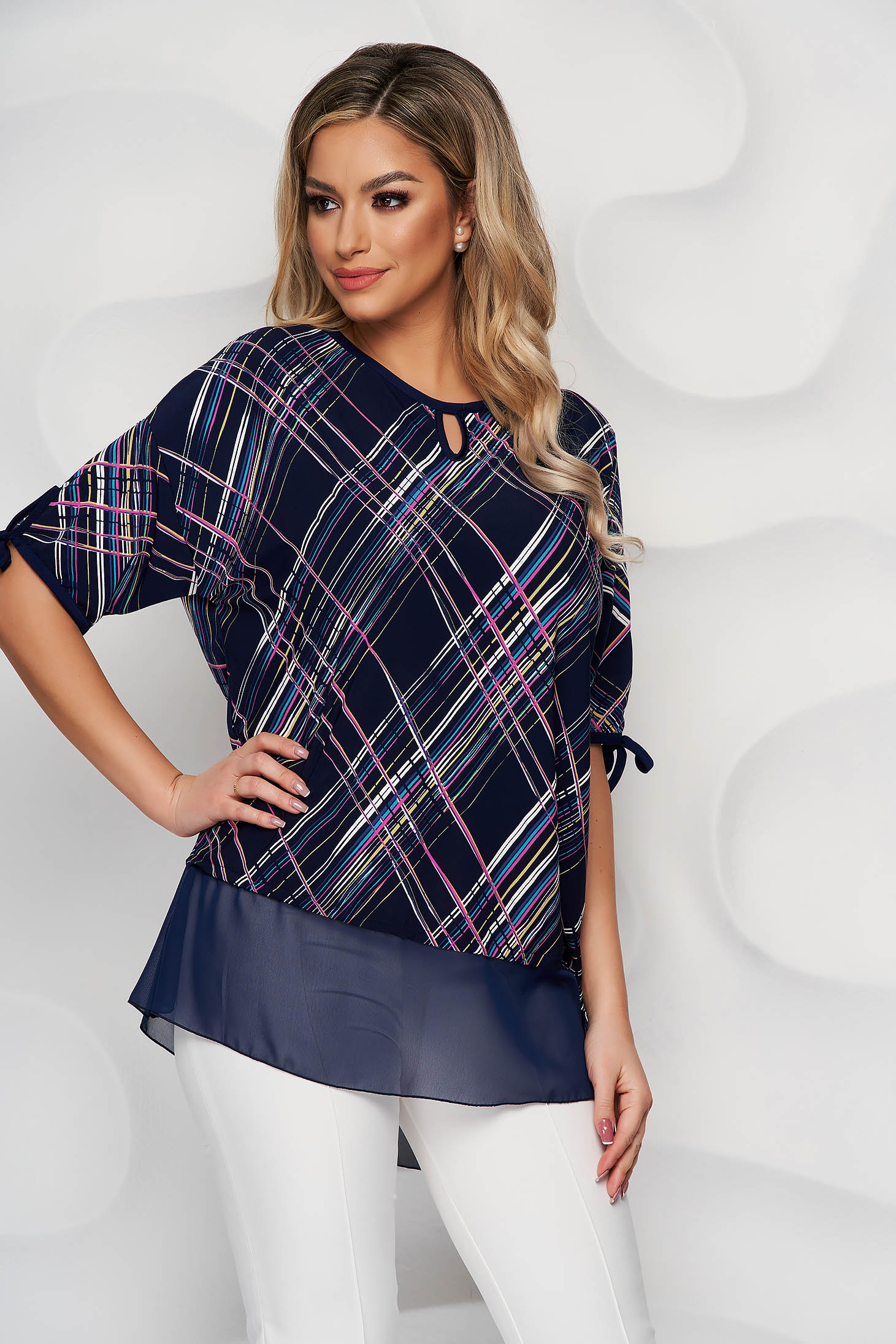 Darkblue women`s blouse voile details from elastic and fine fabric loose fit