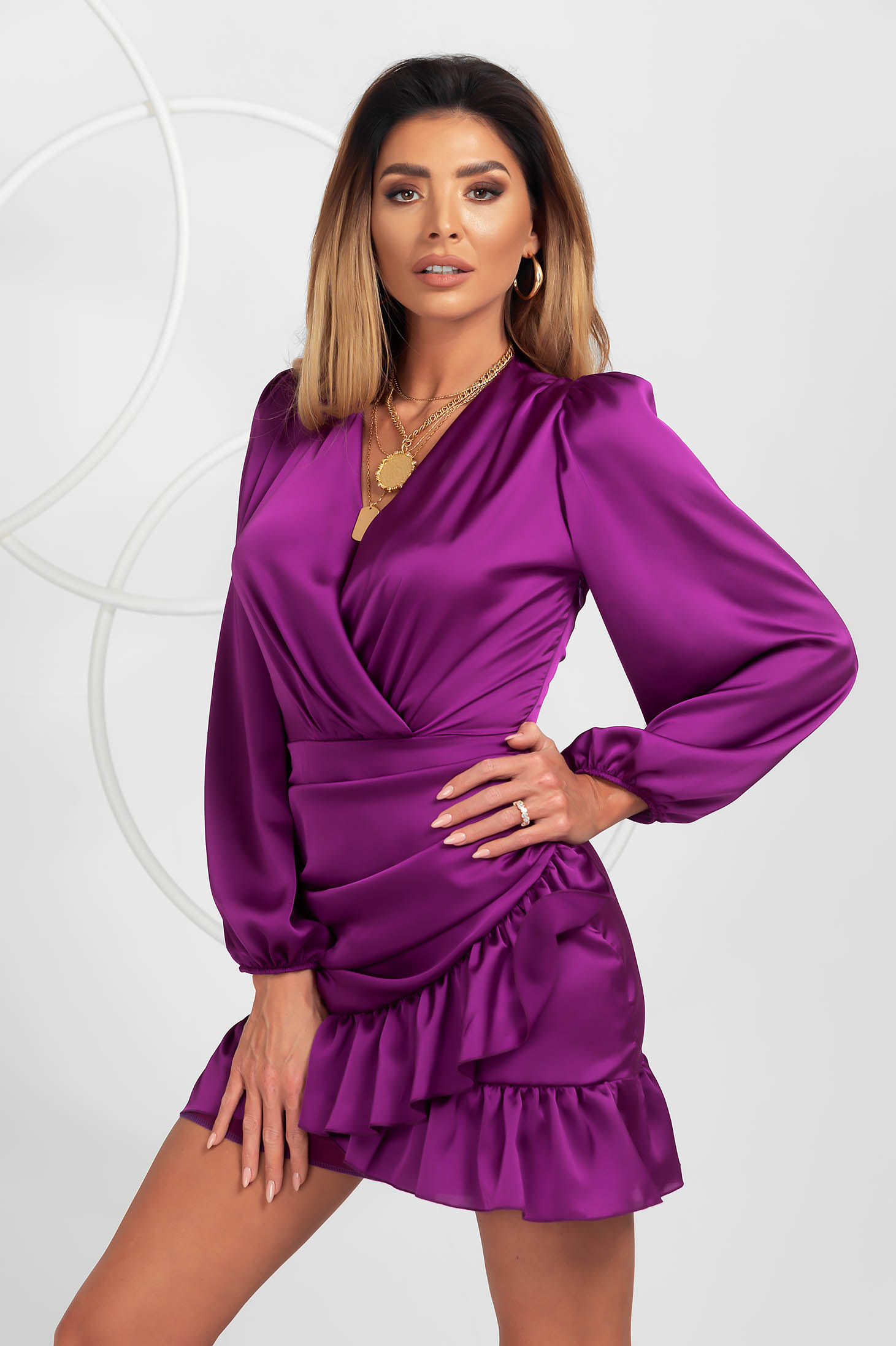 Purple dress from satin clubbing wrap over front with ruffle details