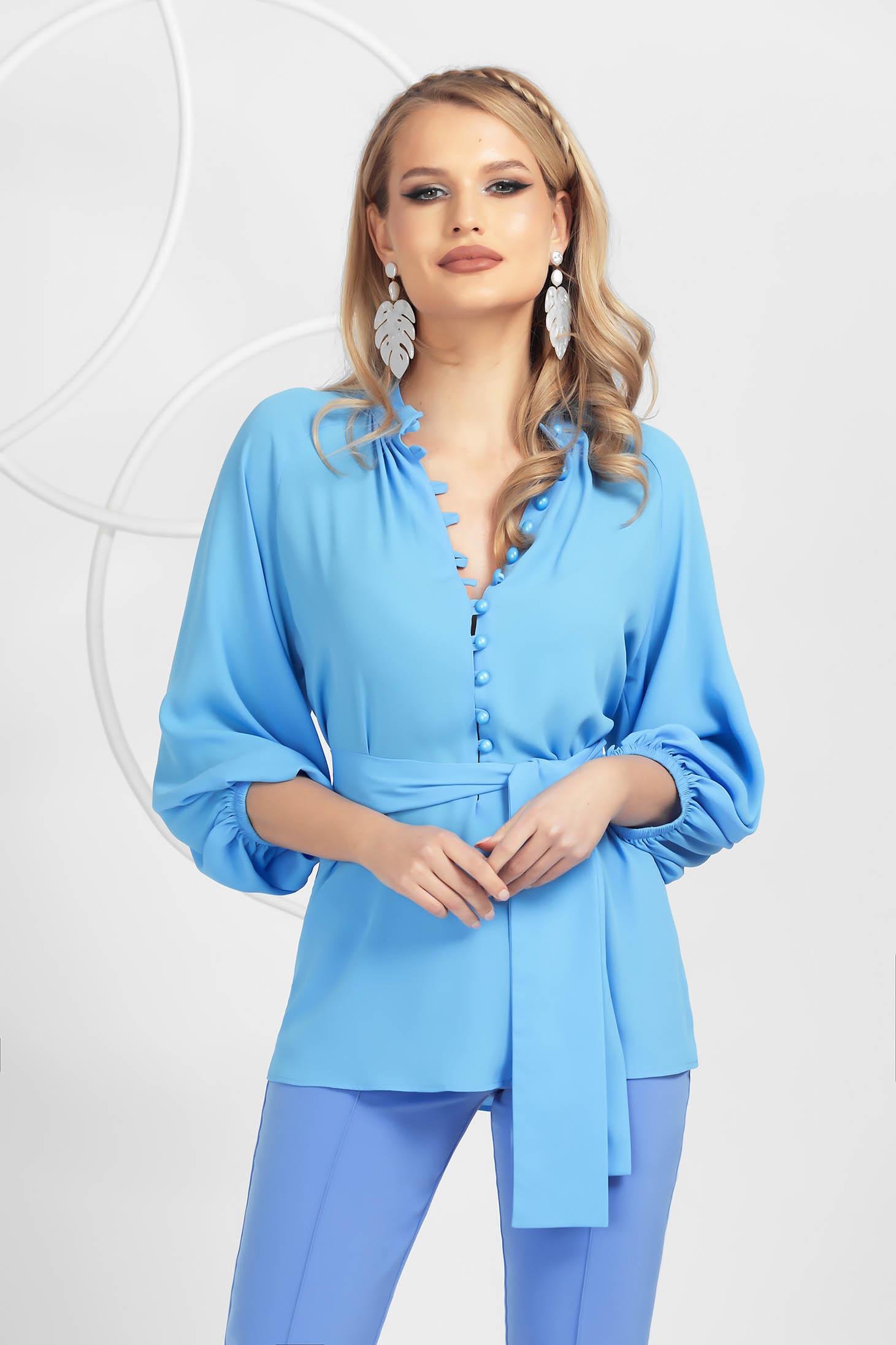 Bluza dama PrettyGirl albastru-deschis din voal cu maneci bufante accesorizata cu cordon si nasturi