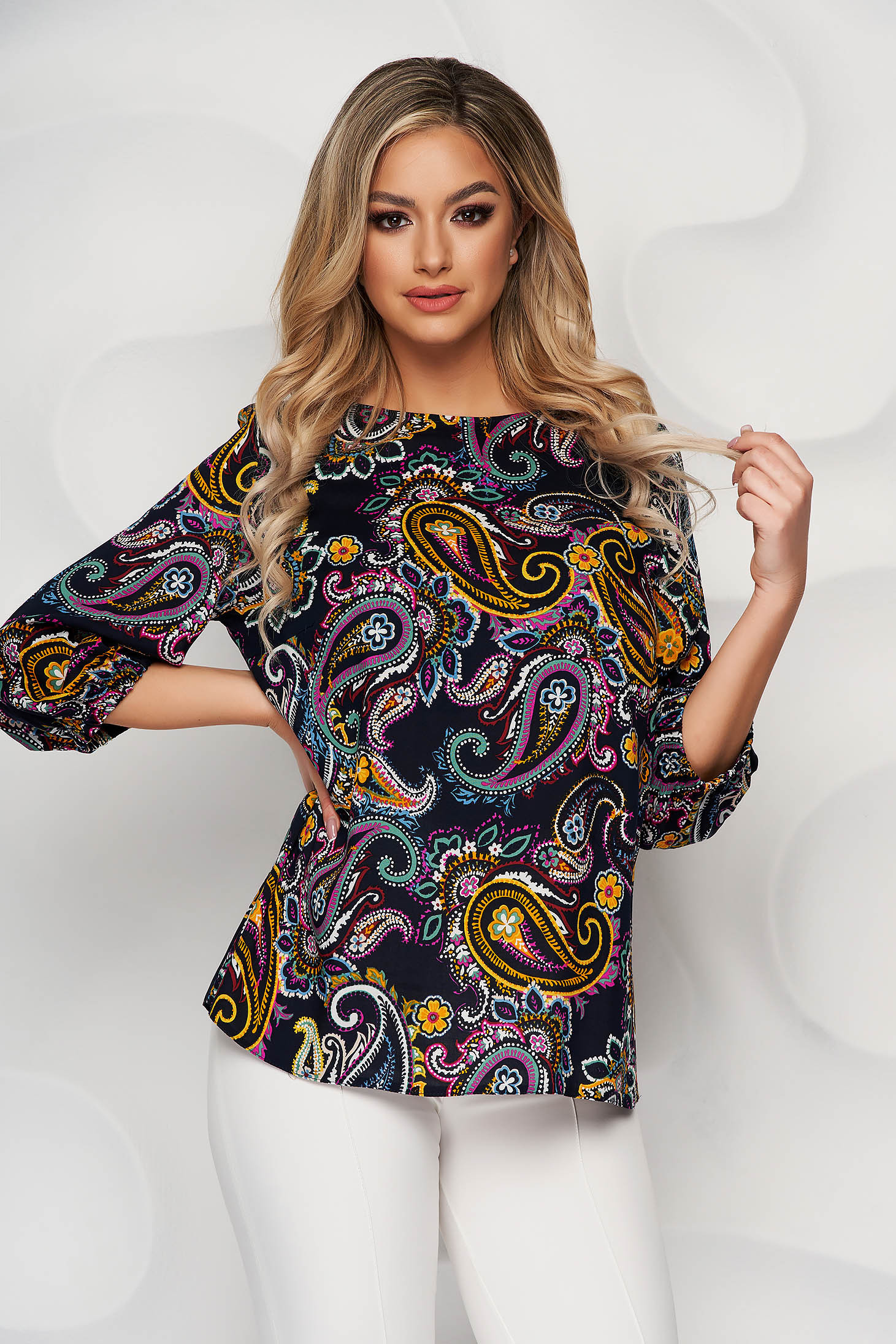 Women`s blouse with floral print loose fit airy fabric