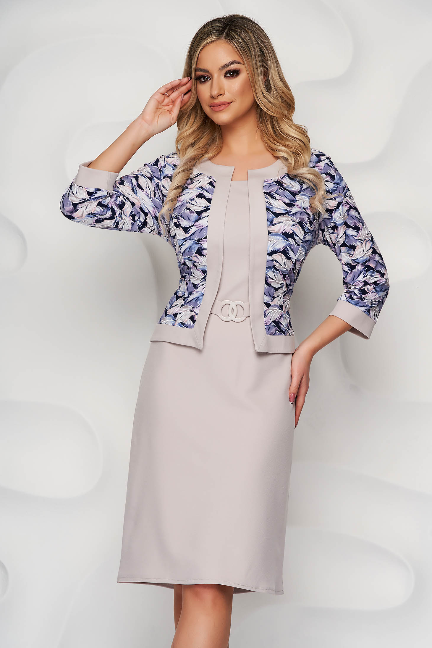 Cream dress pencil slightly elastic fabric elegant midi accessorized with belt