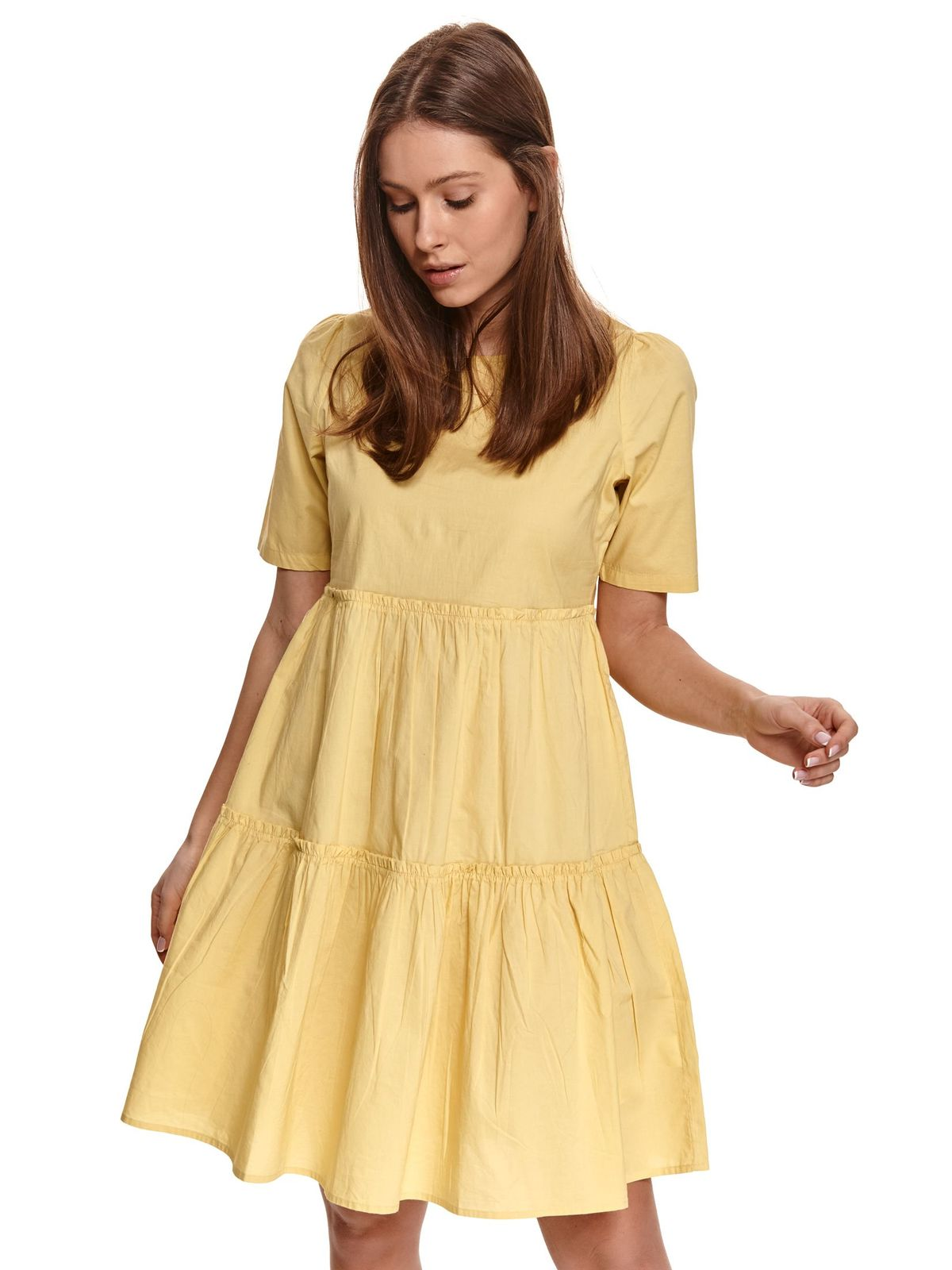 Yellow dress poplin, thin cotton loose fit with ruffle details