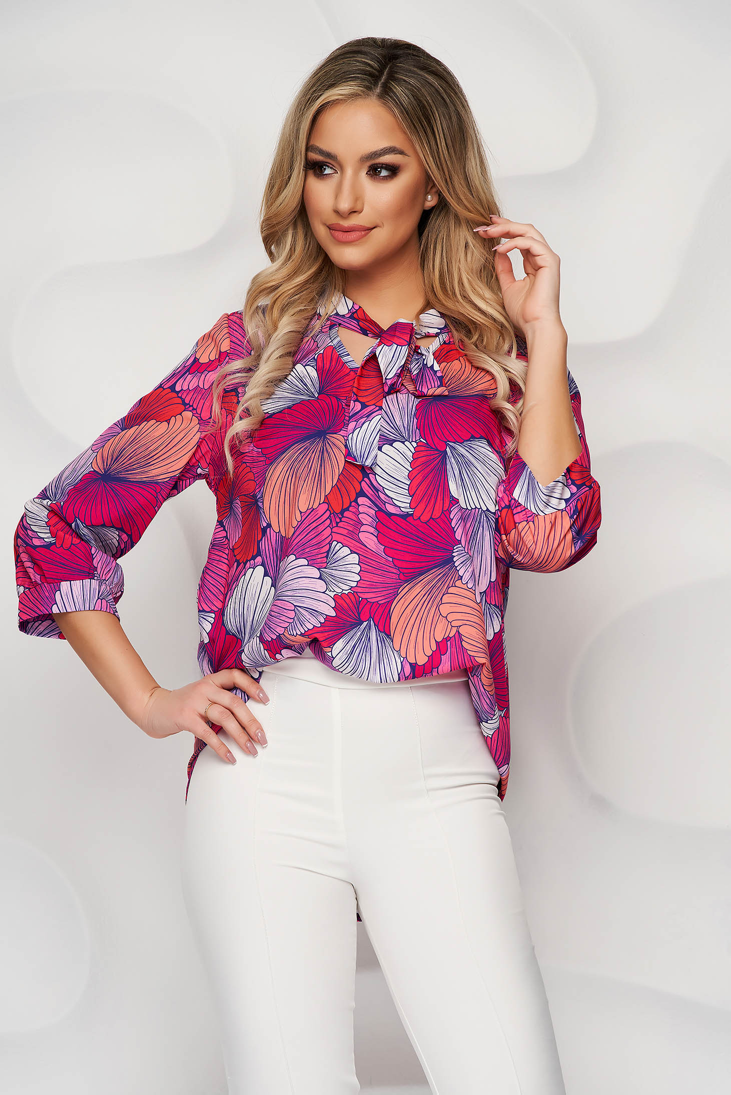 StarShinerS women`s blouse with floral print loose fit airy fabric