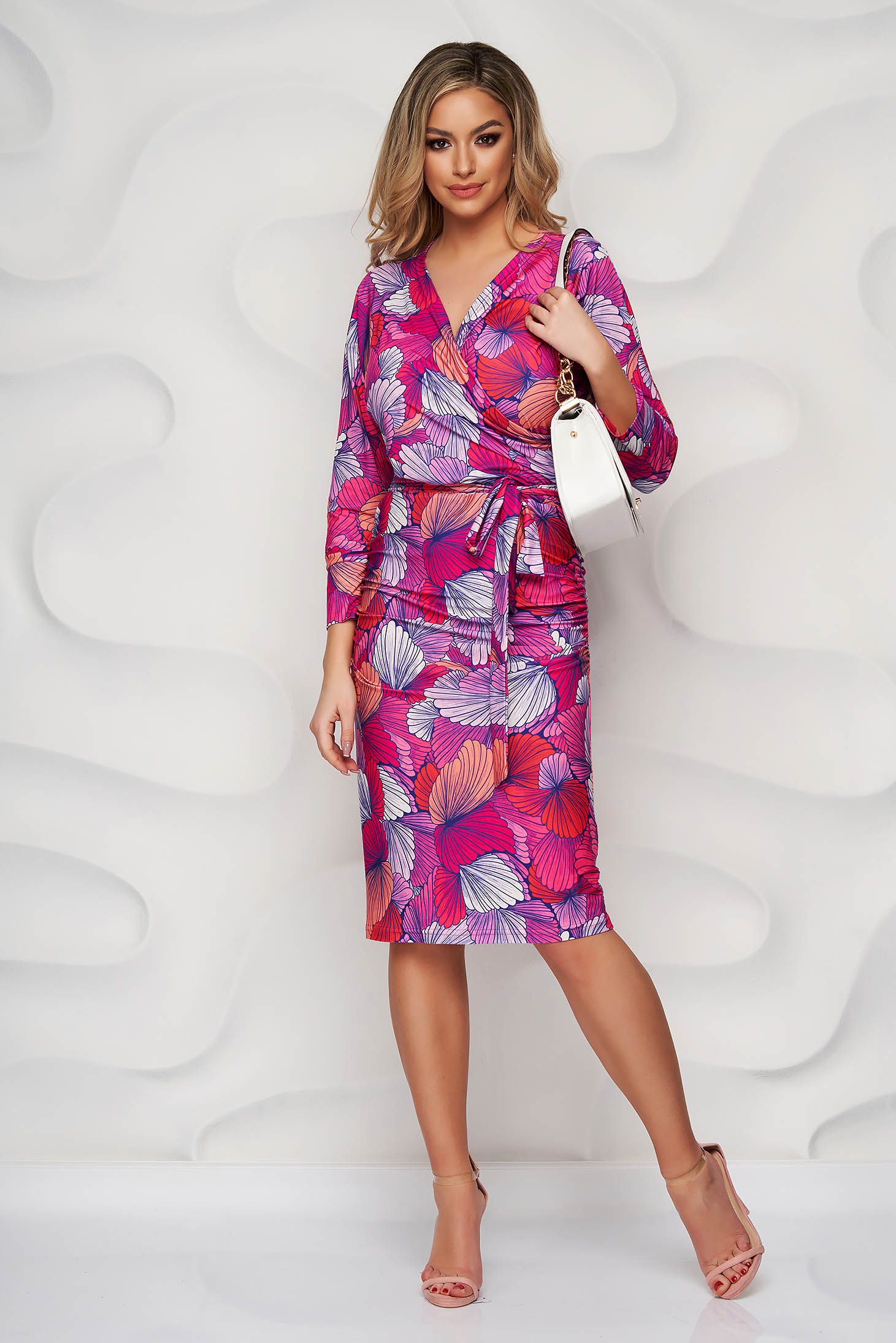 StarShinerS dress pencil with floral print from elastic and fine fabric with v-neckline office short cut