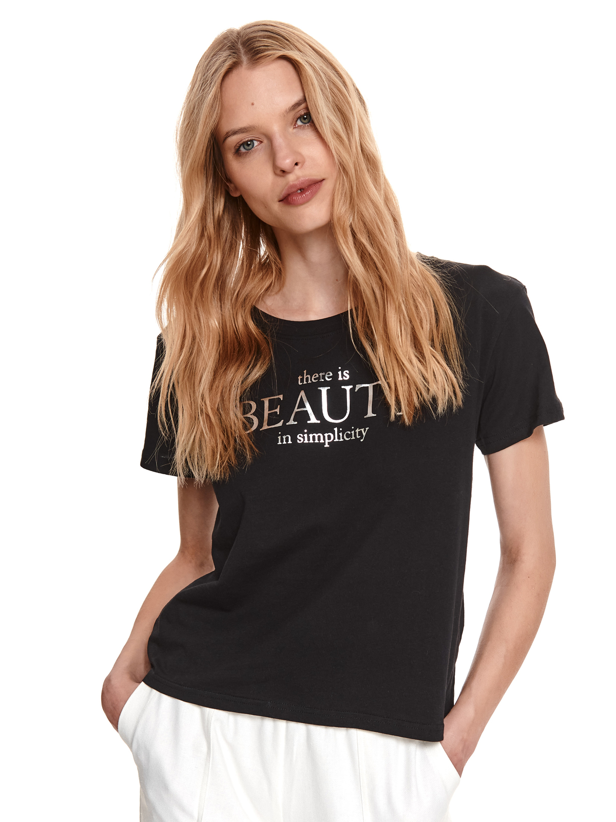 Black t-shirt elastic cotton loose fit with graphic details