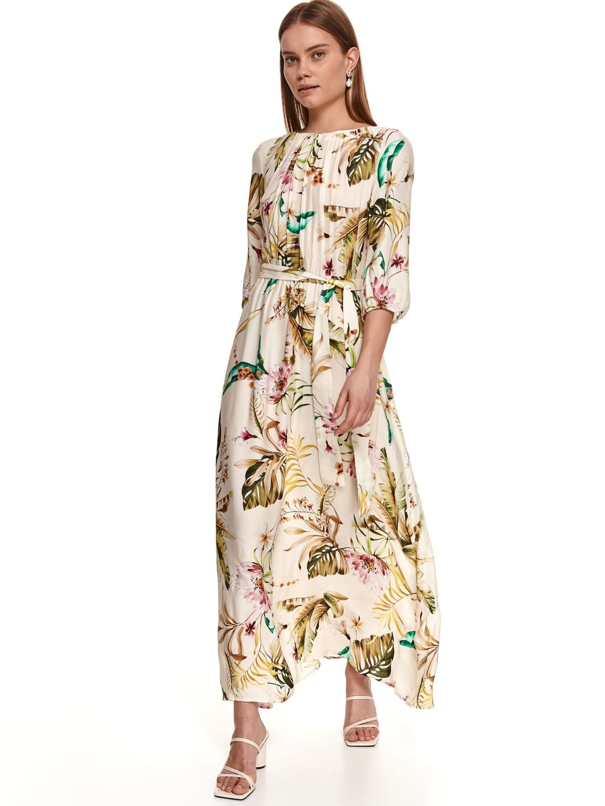 Long with floral print accessorized with tied waistband airy fabric cream dress