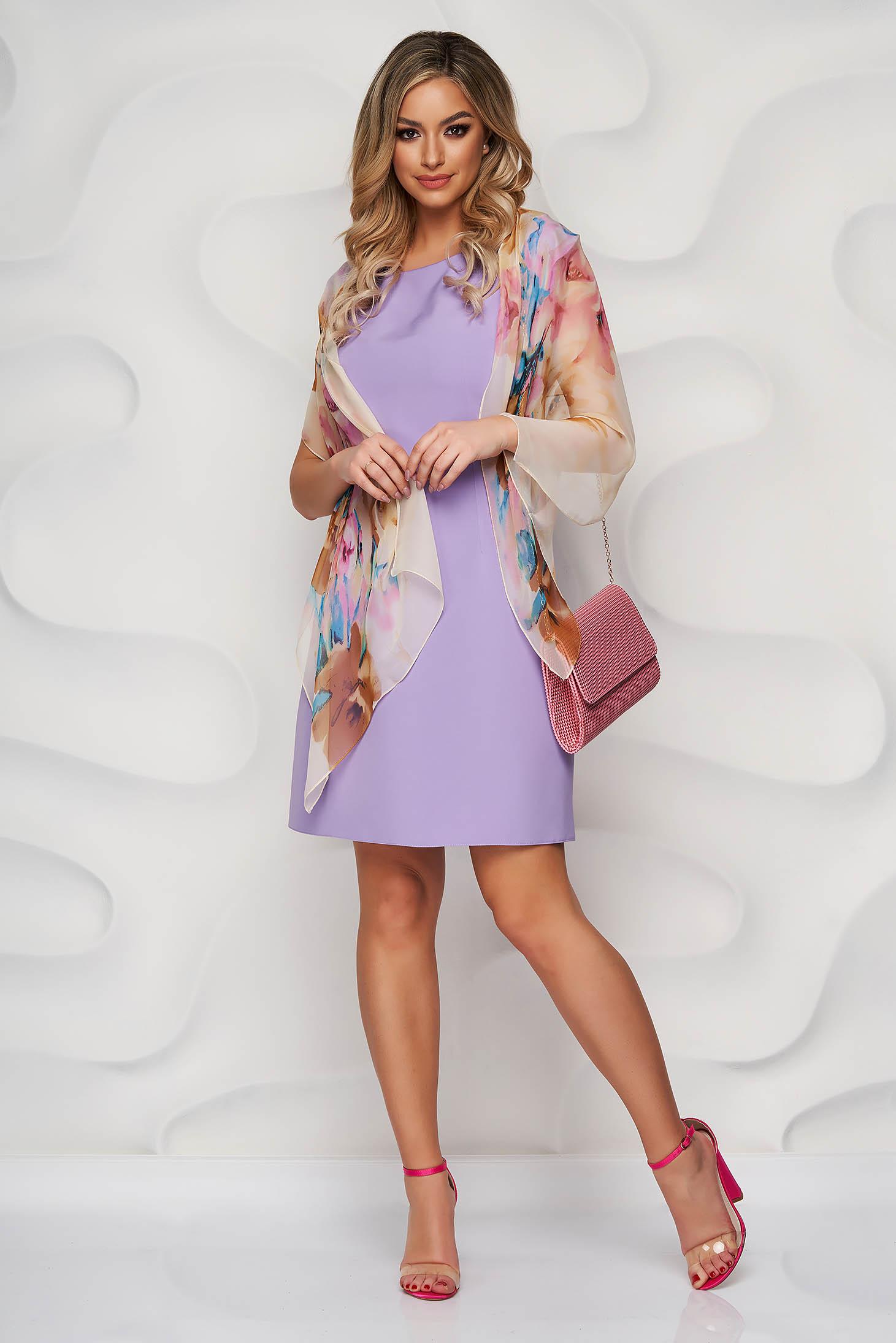 Rochie Lady Pandora lila cu croi in a din material usor elastic cu decolteu rotunjit