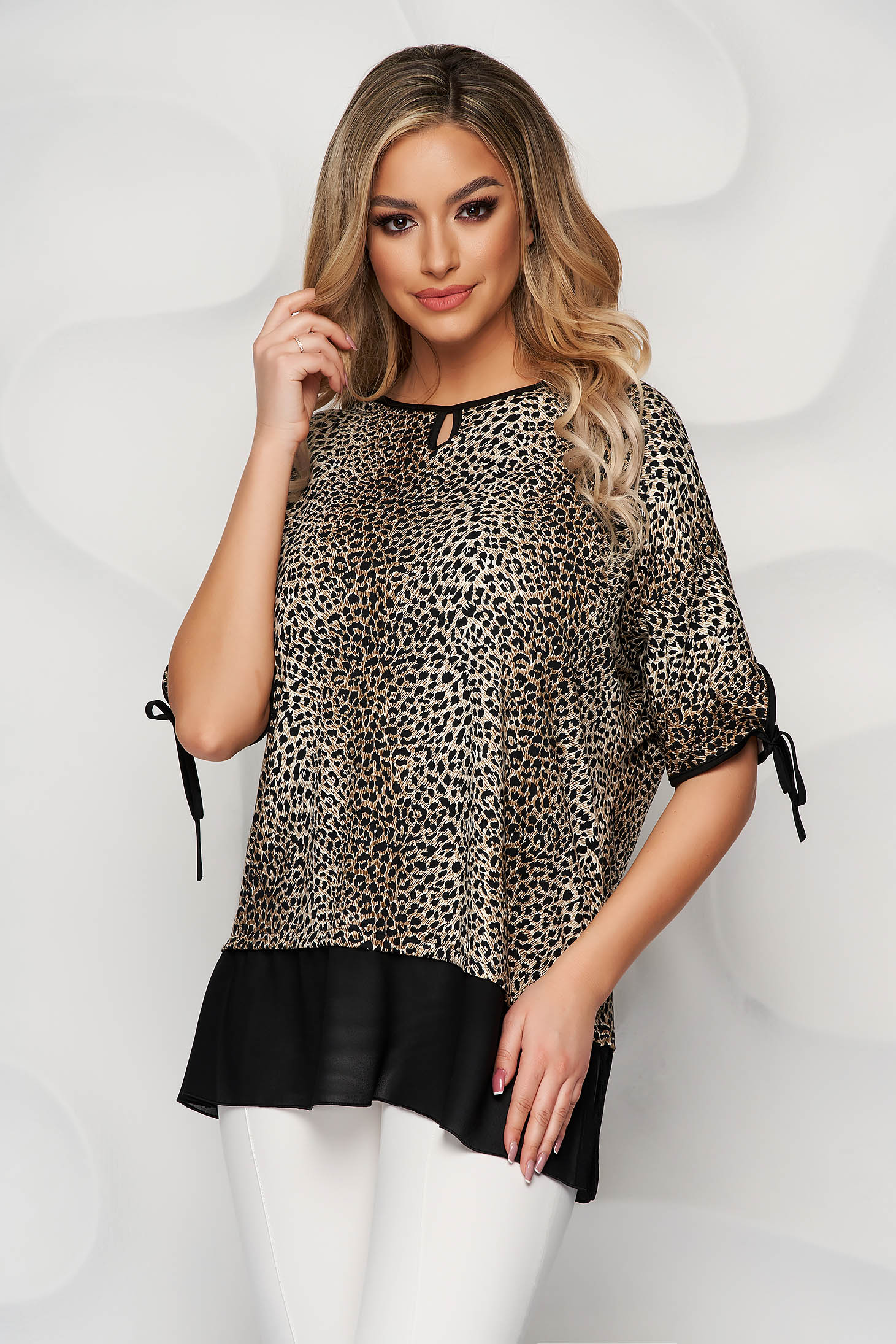 Darkbrown women`s blouse voile details from elastic and fine fabric loose fit