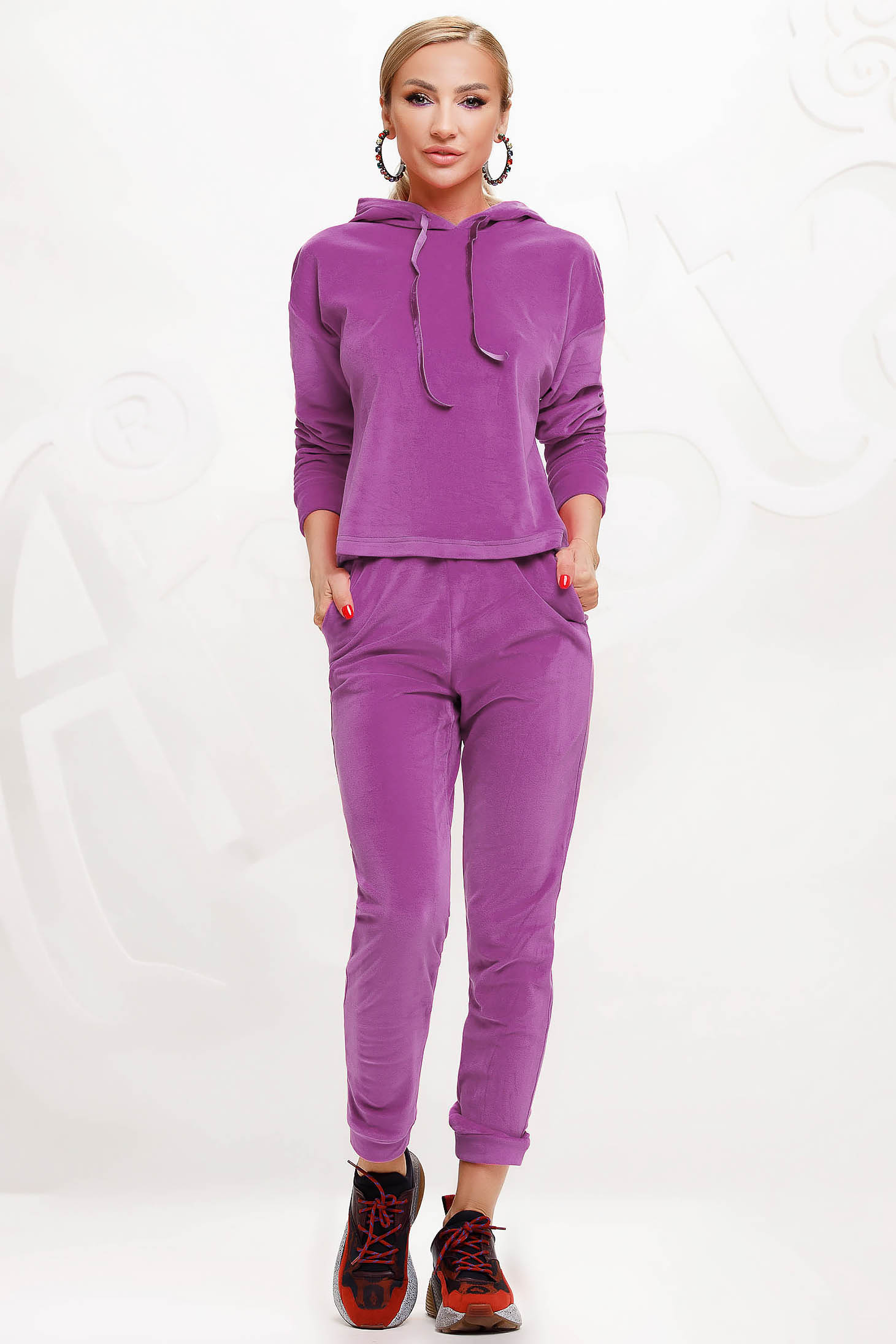 Lila sport 2 pieces 2 pieces loose fit with undetachable hood