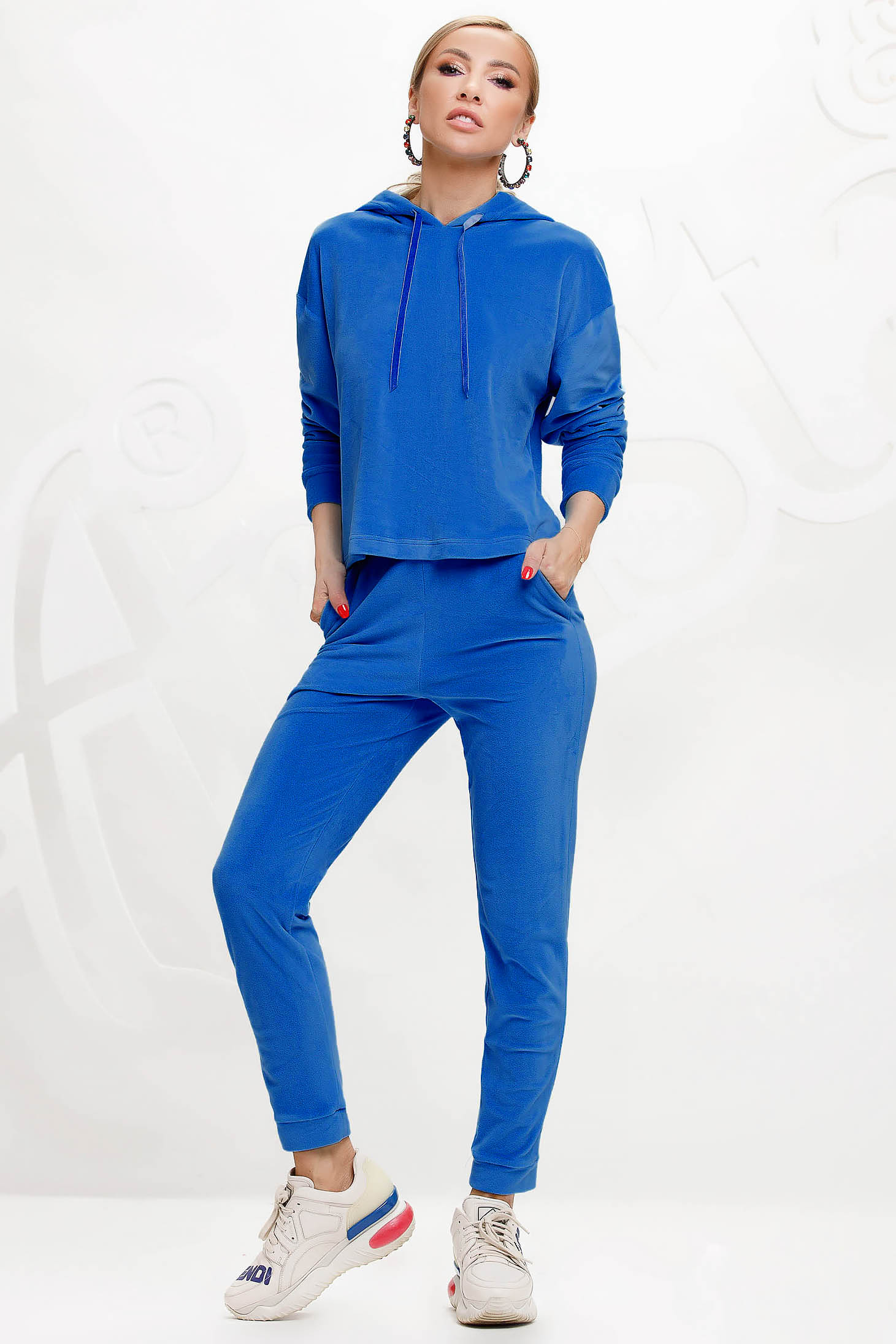 Blue sport 2 pieces 2 pieces loose fit with undetachable hood