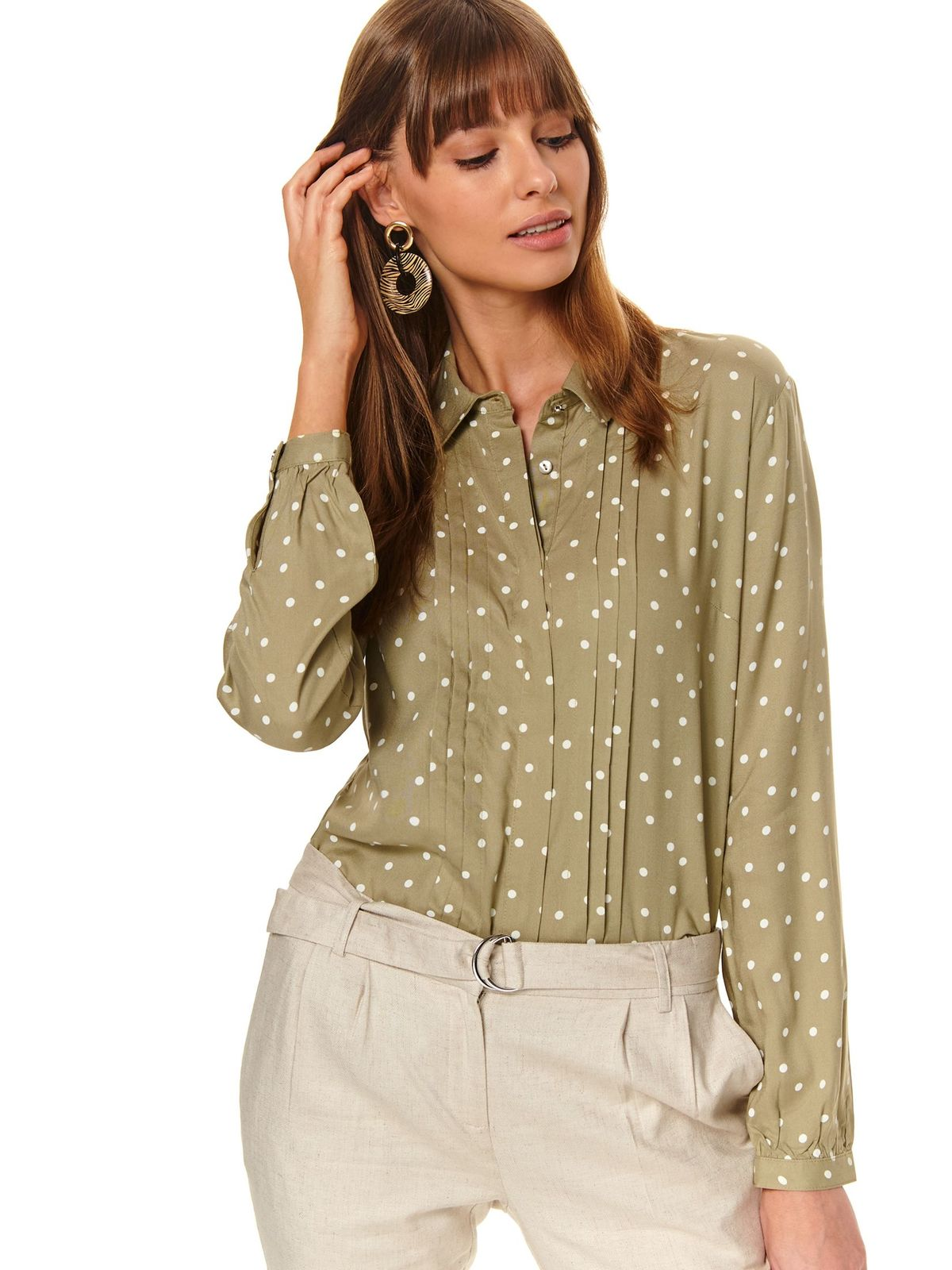 Dots print green women`s shirt