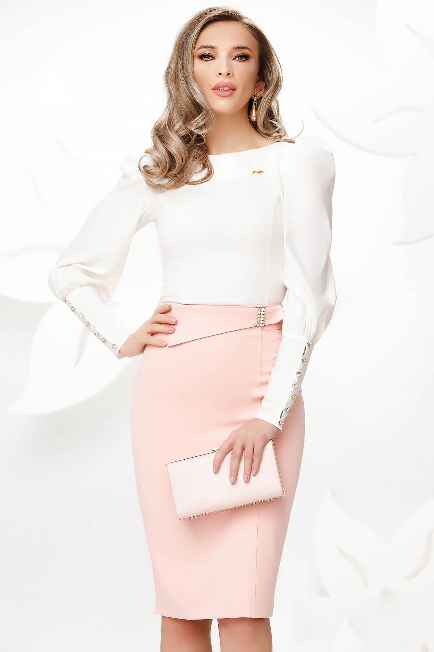 Lightpink skirt slightly elastic cotton pencil elegant with buckles accessories with pearls