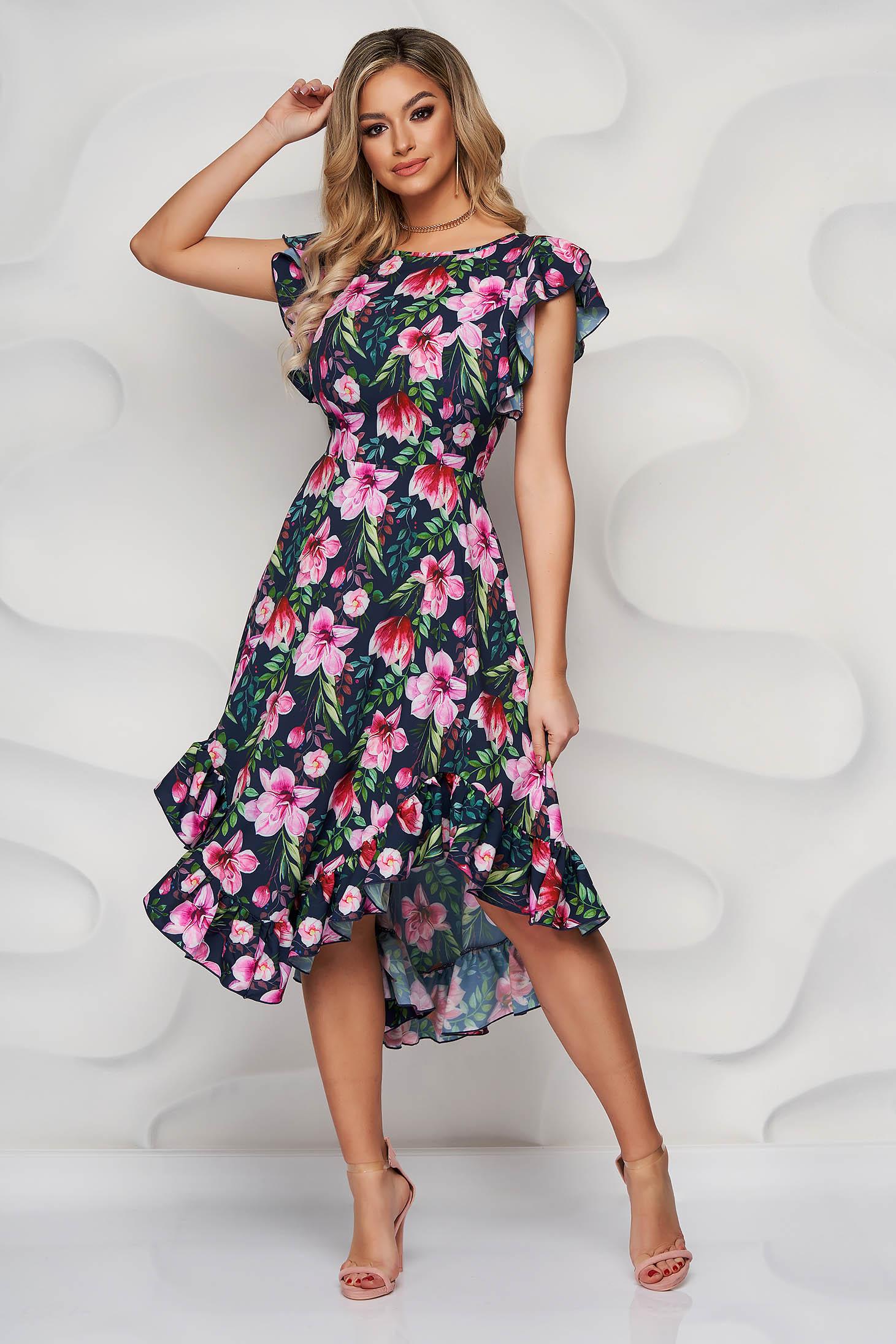 StarShinerS rochie eleganta midi in clos din material moale cu volanase