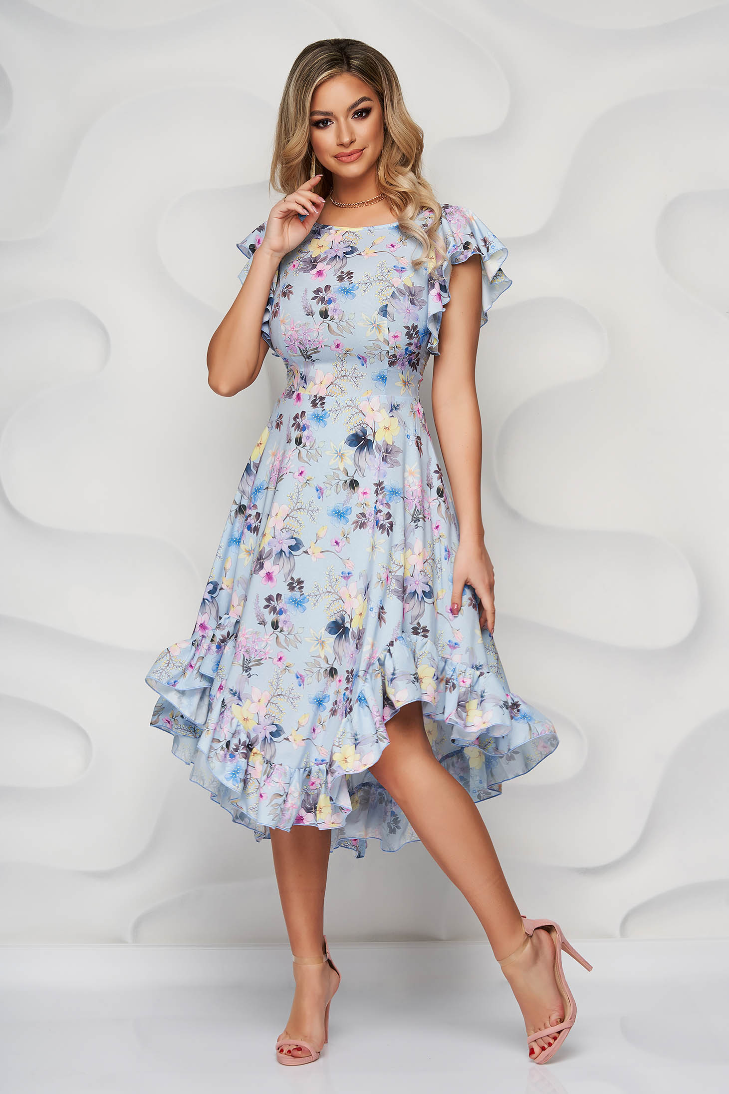 StarShinerS blue dress elegant midi cloche with ruffle details from soft fabric