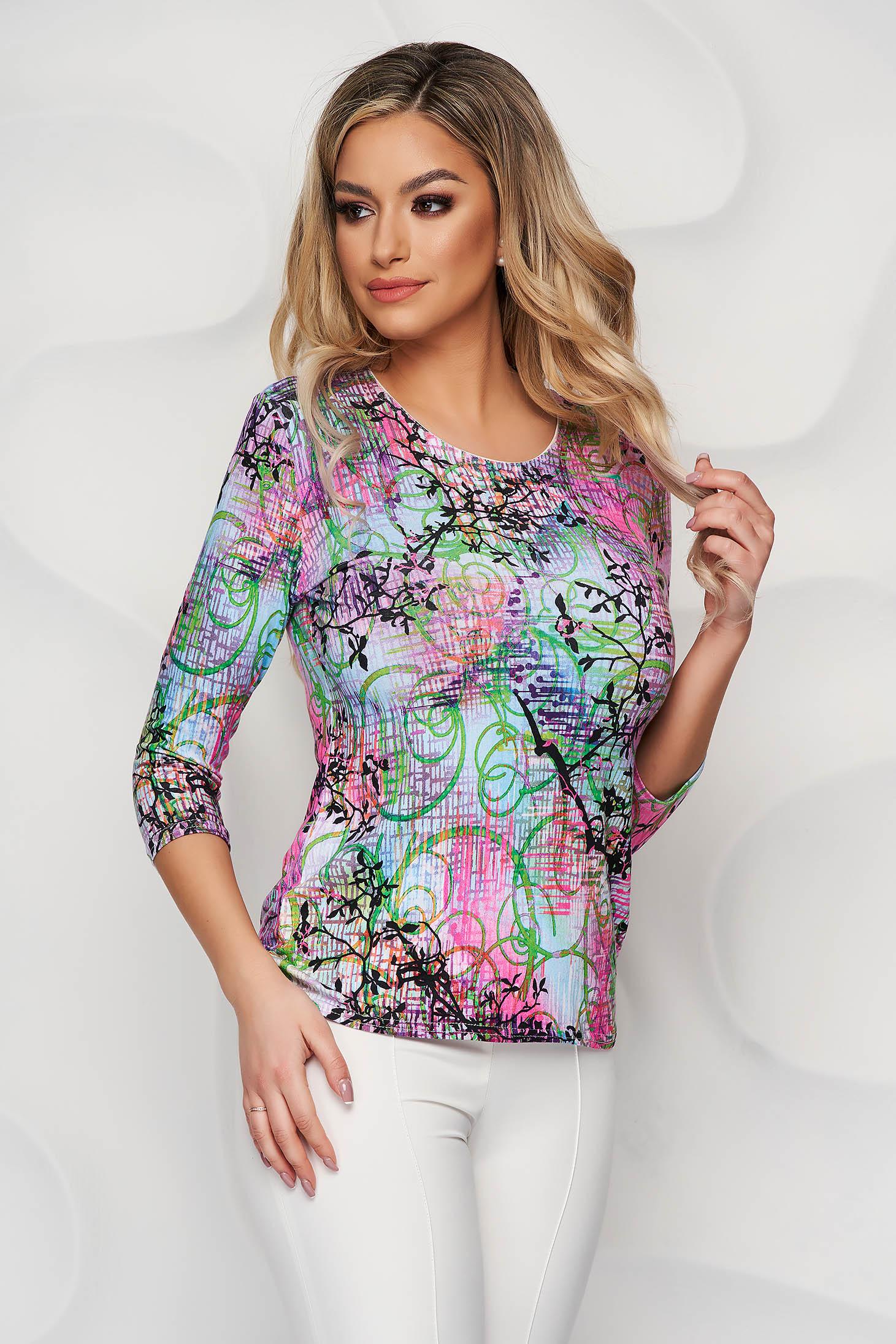 Bluza dama Lady Pandora cu imprimeu floral din material elastic si fin cu croi larg