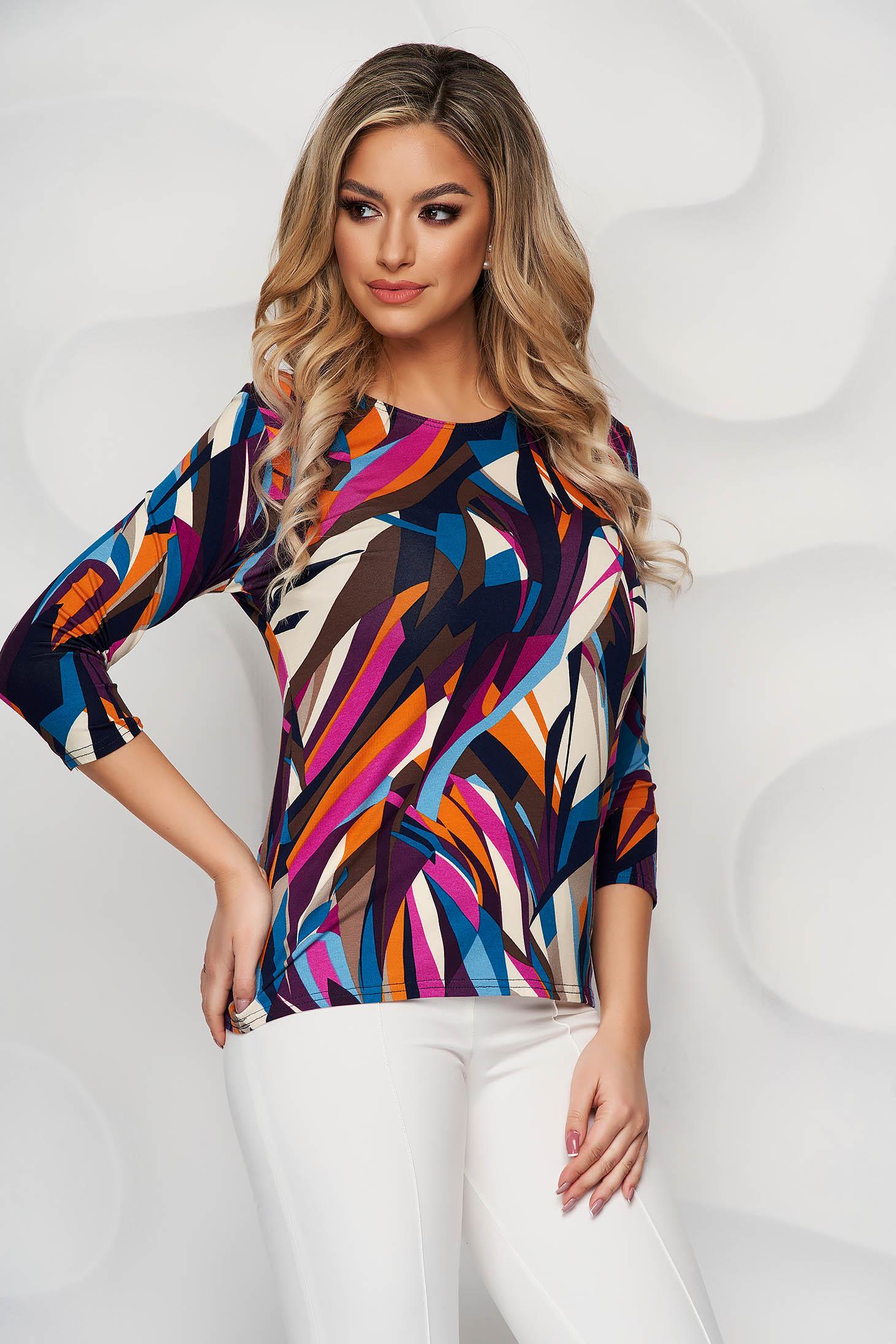 Bluza dama Lady Pandora cu imprimeuri grafice din material elastic si fin cu croi larg