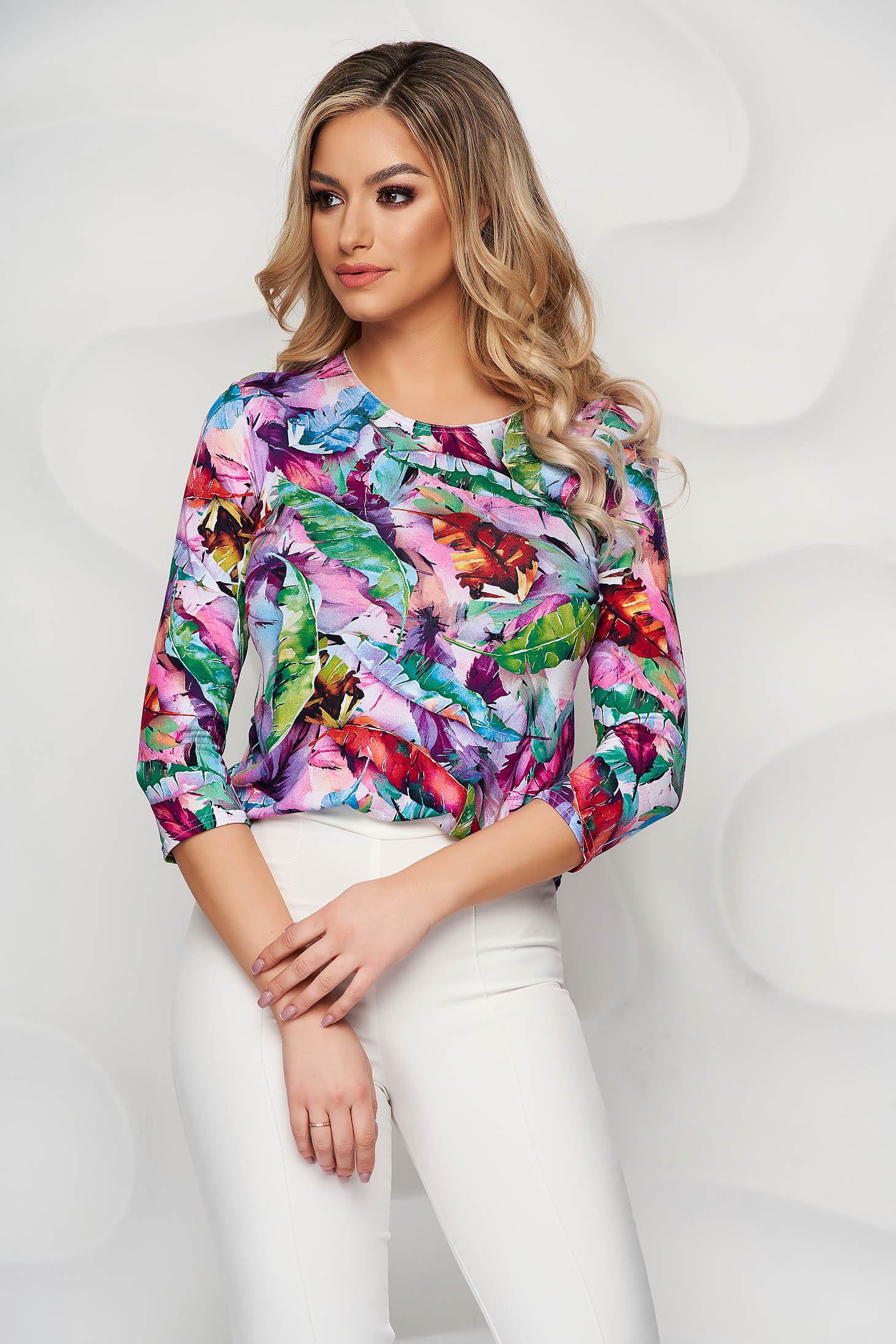 Women`s blouse loose fit from elastic and fine fabric